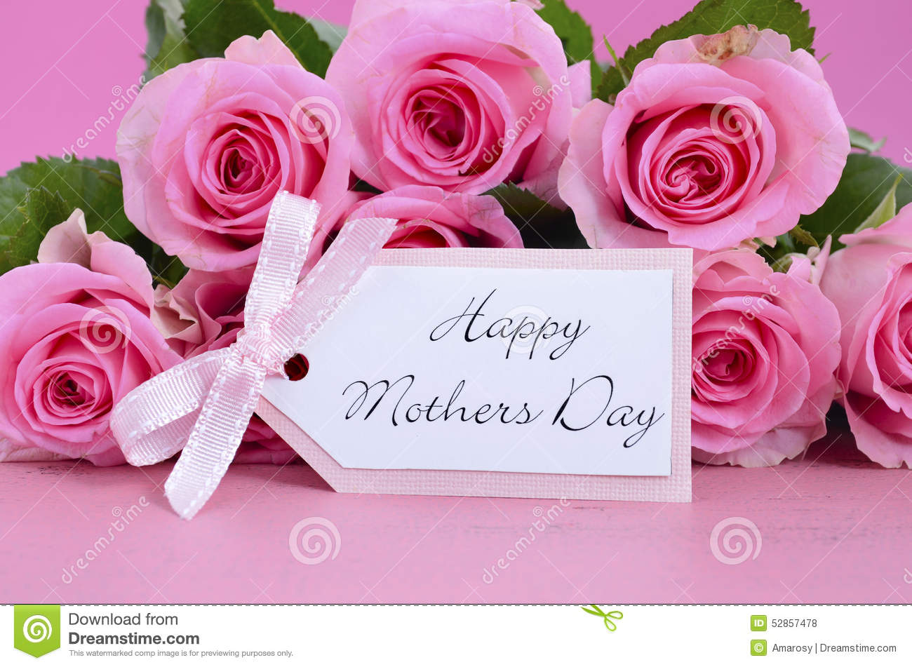Happy Mothers Day Pink Roses Background Stock Photo