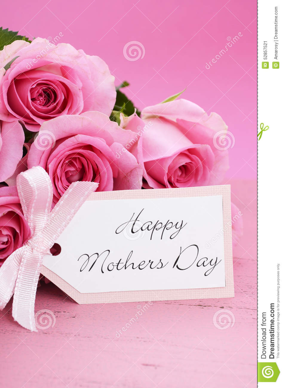 Happy Mothers Day Pink Roses Background Stock Image Image Of