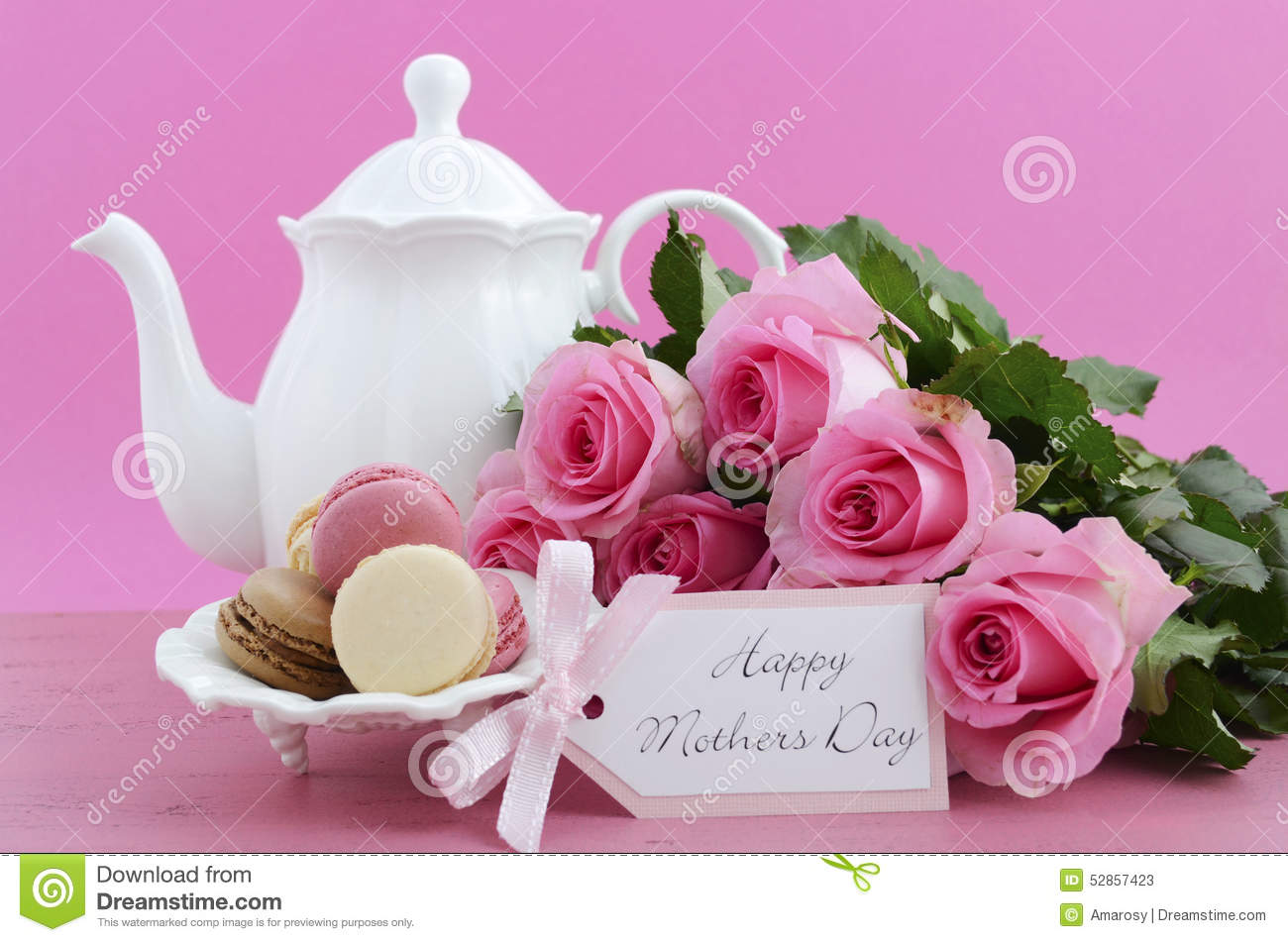 Happy Mothers Day Pink Roses And Tea Setting. Stock Image ...