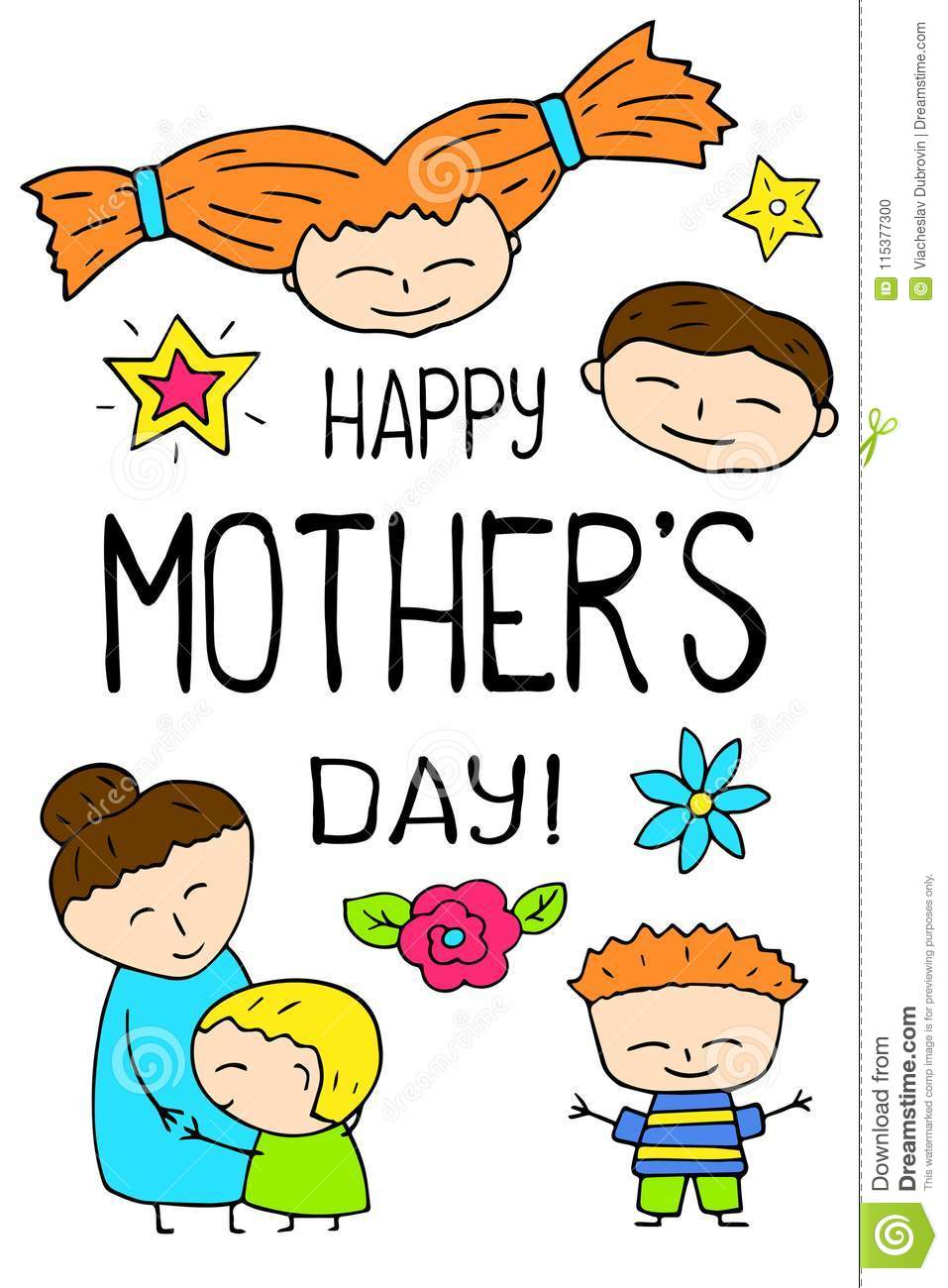 Happy Mothers Day Postcard On White Background Mother Greeting Card Mom And Son Hugs In Freehand Style
