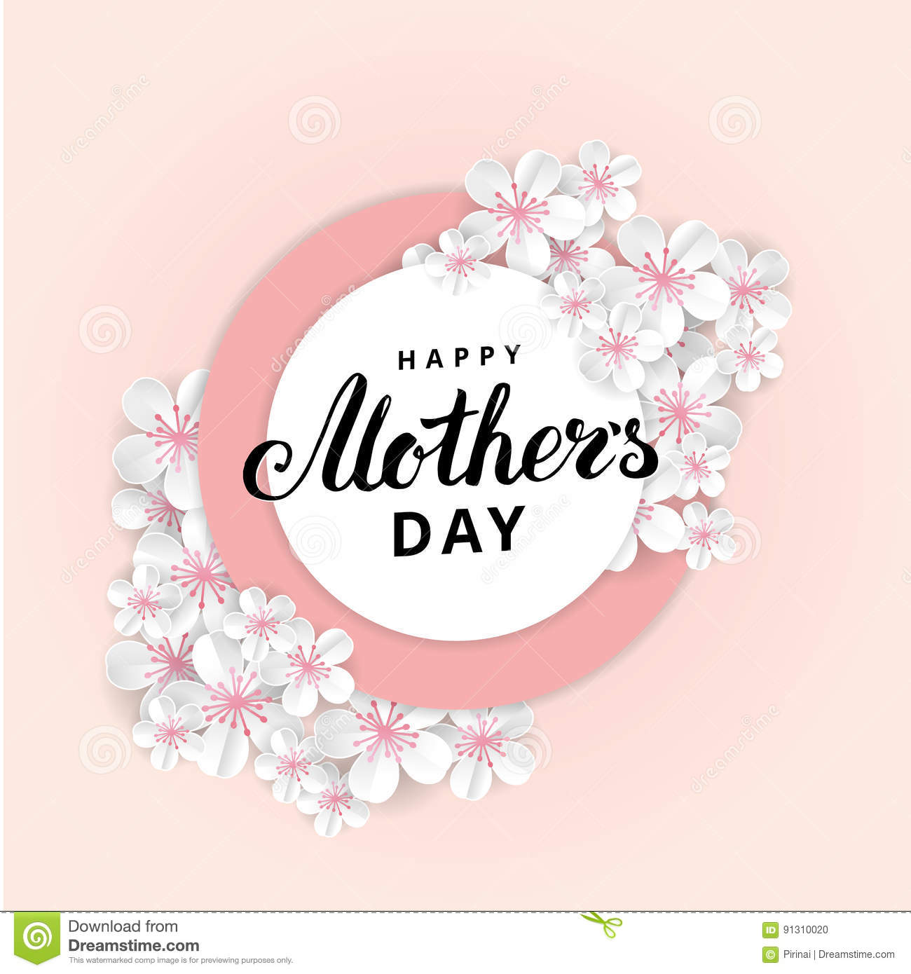 happy mothers day sakura flower stock vector illustration of happy