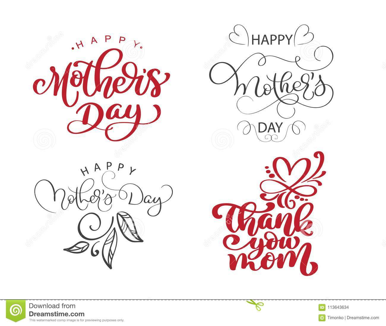 photograph relating to Happy Mothers Day Printable named Satisfied Moms Working day Established Hand Drawn Lettering Prices. Vector T