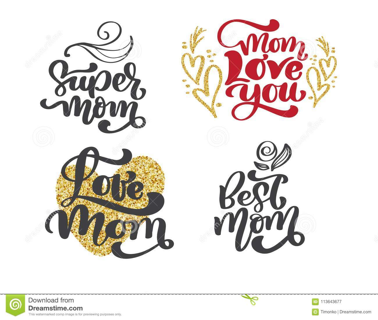 Happy mothers day set Hand drawn lettering quotes. Vector t-shirt or postcard print design, Hand drawn vector