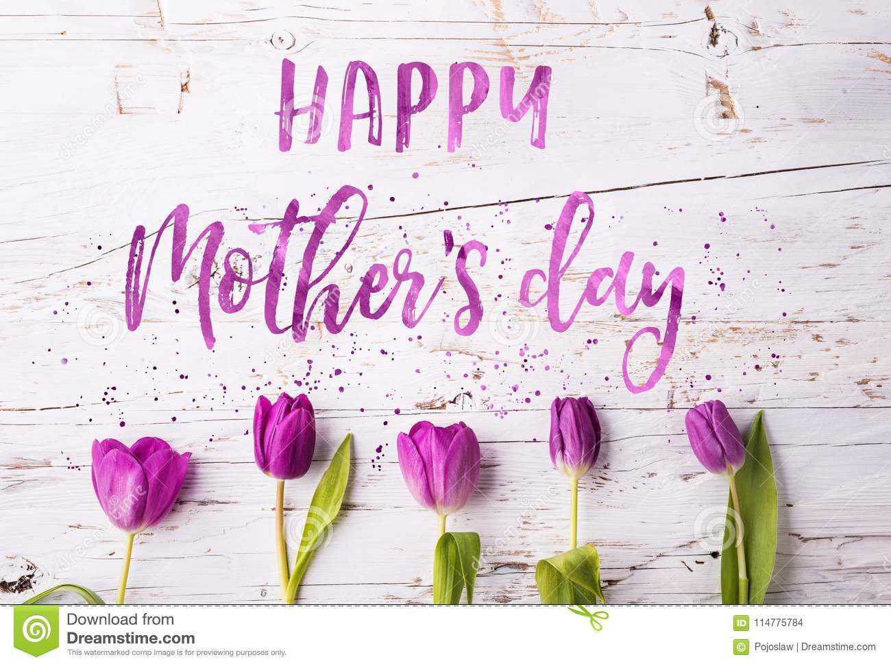 Happy Mothers Day Sign And Flowers Composition Studio Shot Stock