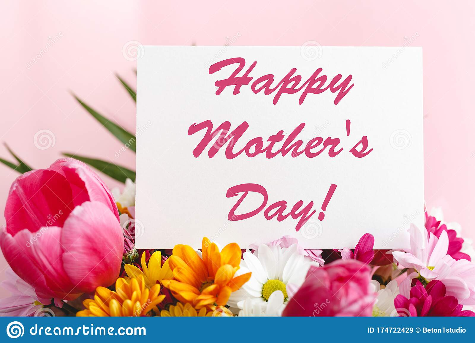 Happy Mothers Day Text On Gift Card In Flower Bouquet On Pink Background Greeting Card For Mom Flower Delivery Congratulations Stock Image Image Of Decoration Female 174722429