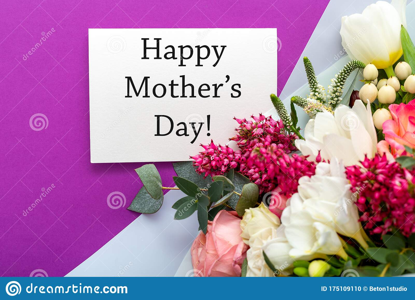Happy Mothers Day Text On Gift Card With Flower Bouquet Of Roses Tulips Eucalyptus On Purple Background Greeting Card For Mom Stock Photo Image Of Mother Card 175109110