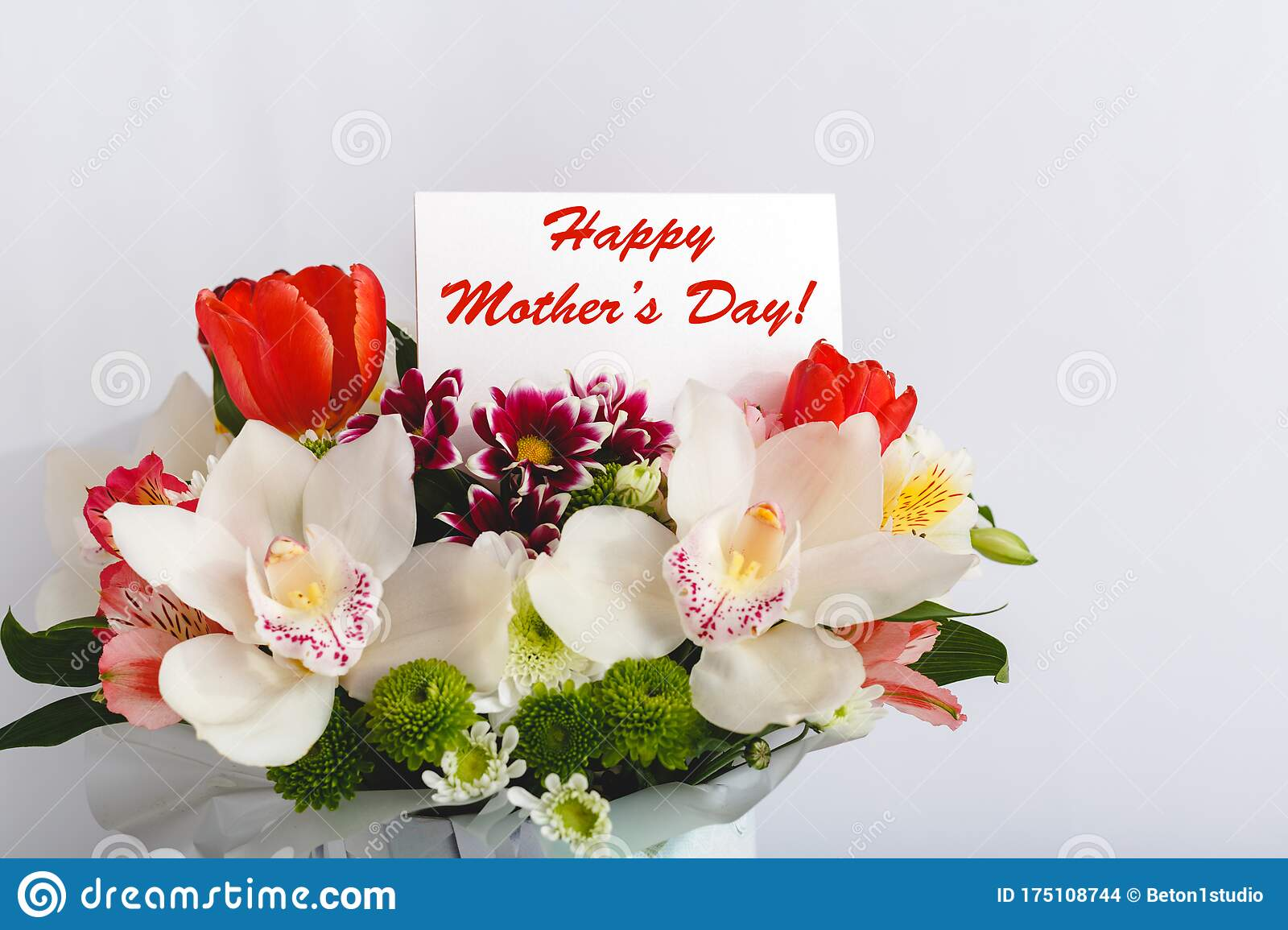 Happy Mothers Day Text On Gift Card In Flower Bouquet On White Background Greeting Card For Mom Flower Delivery Congratulations Stock Photo Image Of Celebration Mother 175108744