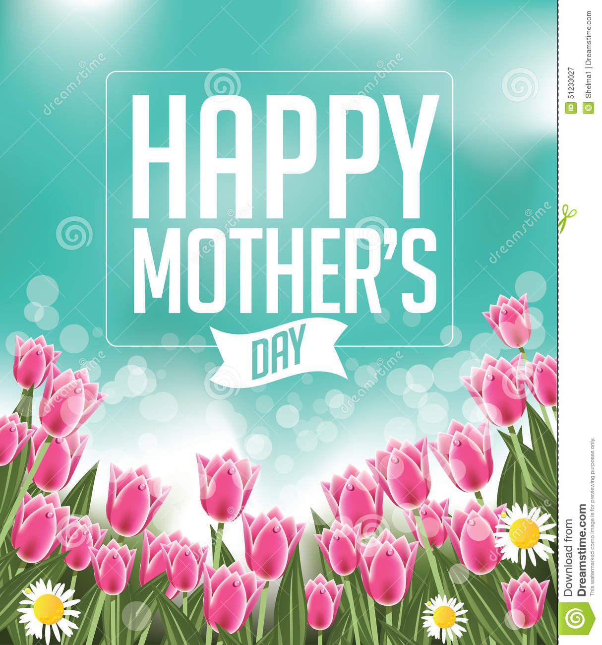 I Love You Mom Happy Mothers Day Flyer Template Psd Free: Happy Mothers Day Tulips Design EPS 10 Vector Stock Vector