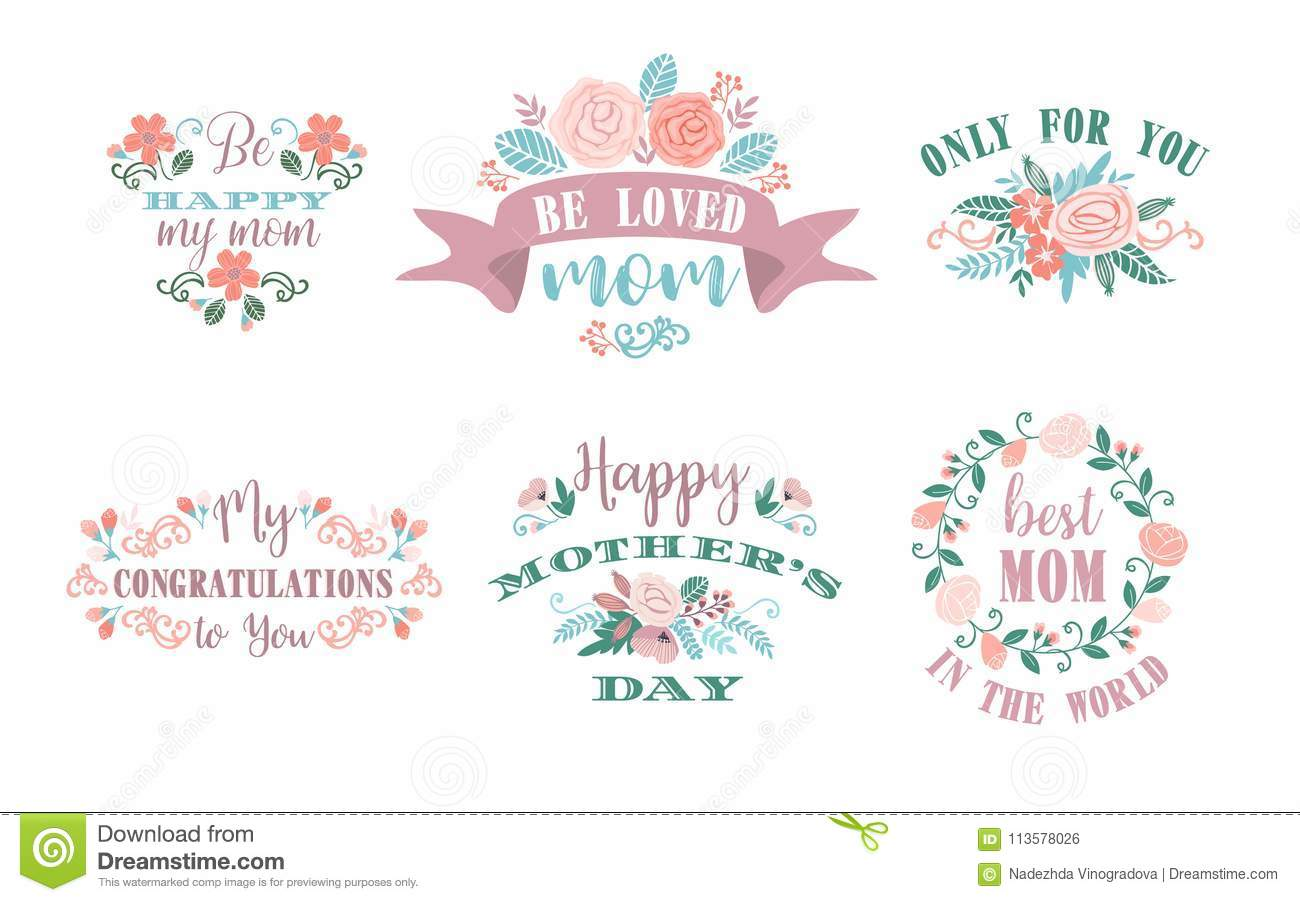 happy mothers day vector emblems
