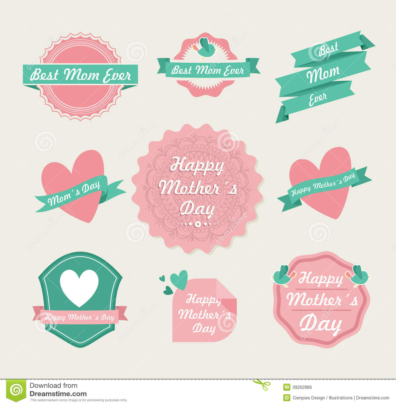 Happy mothers day vintage label set stock vector image for Decoracion para pared dia de la madre