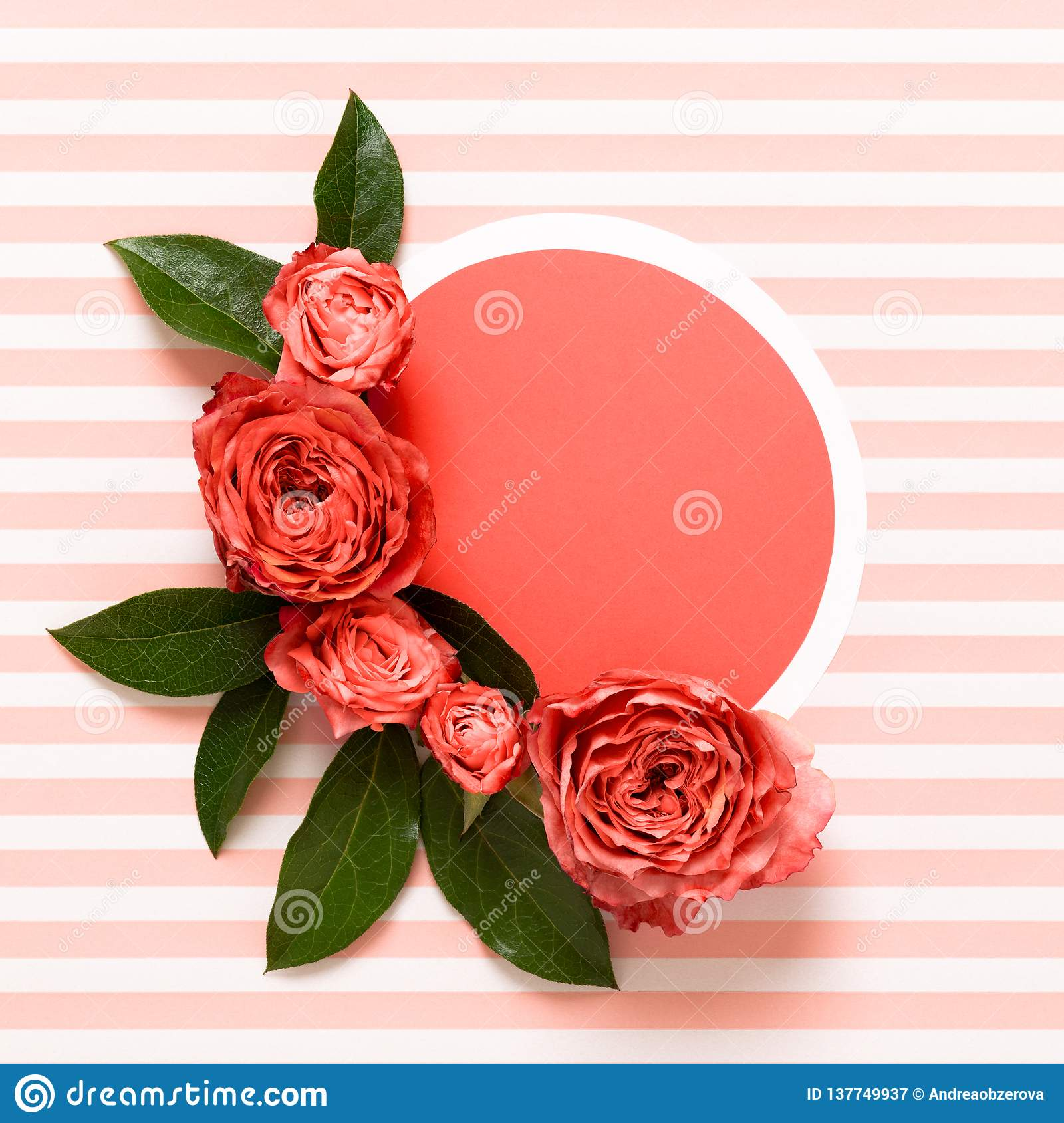Happy Mothers Day, Womens Day, Valentines Day or Birthday Living Coral Pantone Color Background. Coral flat lay greeting card.