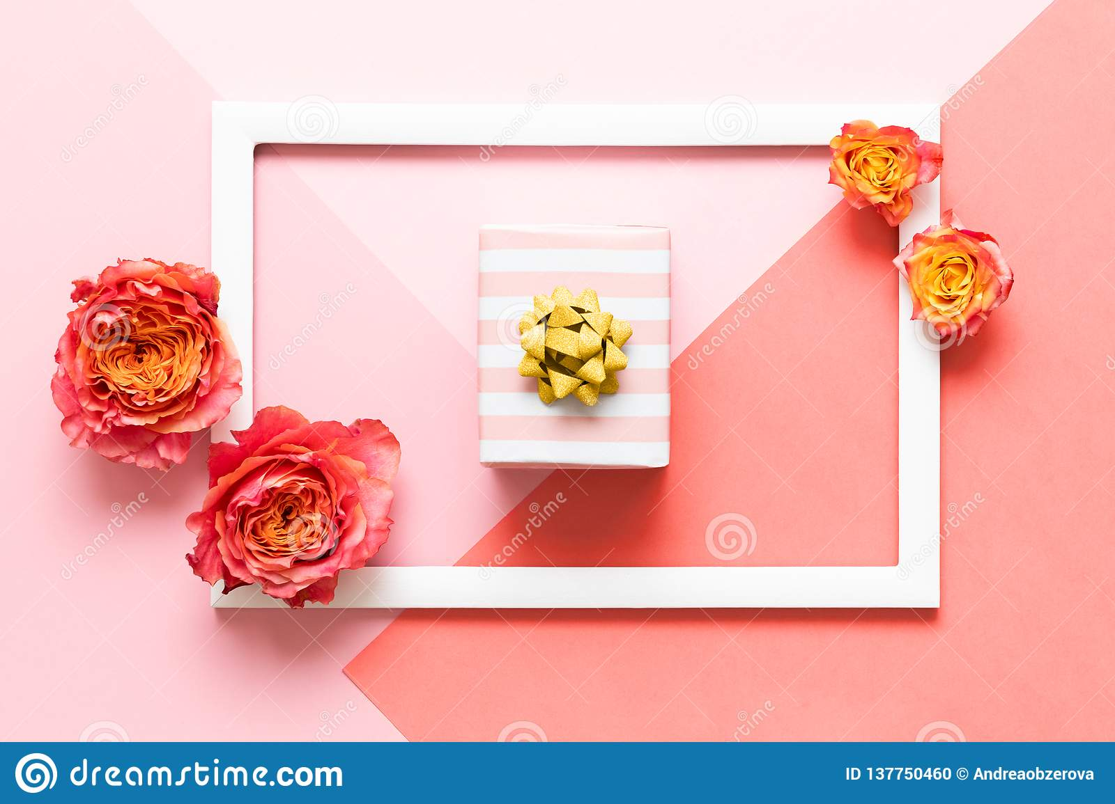 Happy Mothers Day, Womens Day, Valentines Day or Birthday Pink Pastel Colored Background. Flat lay mock up greeting card.