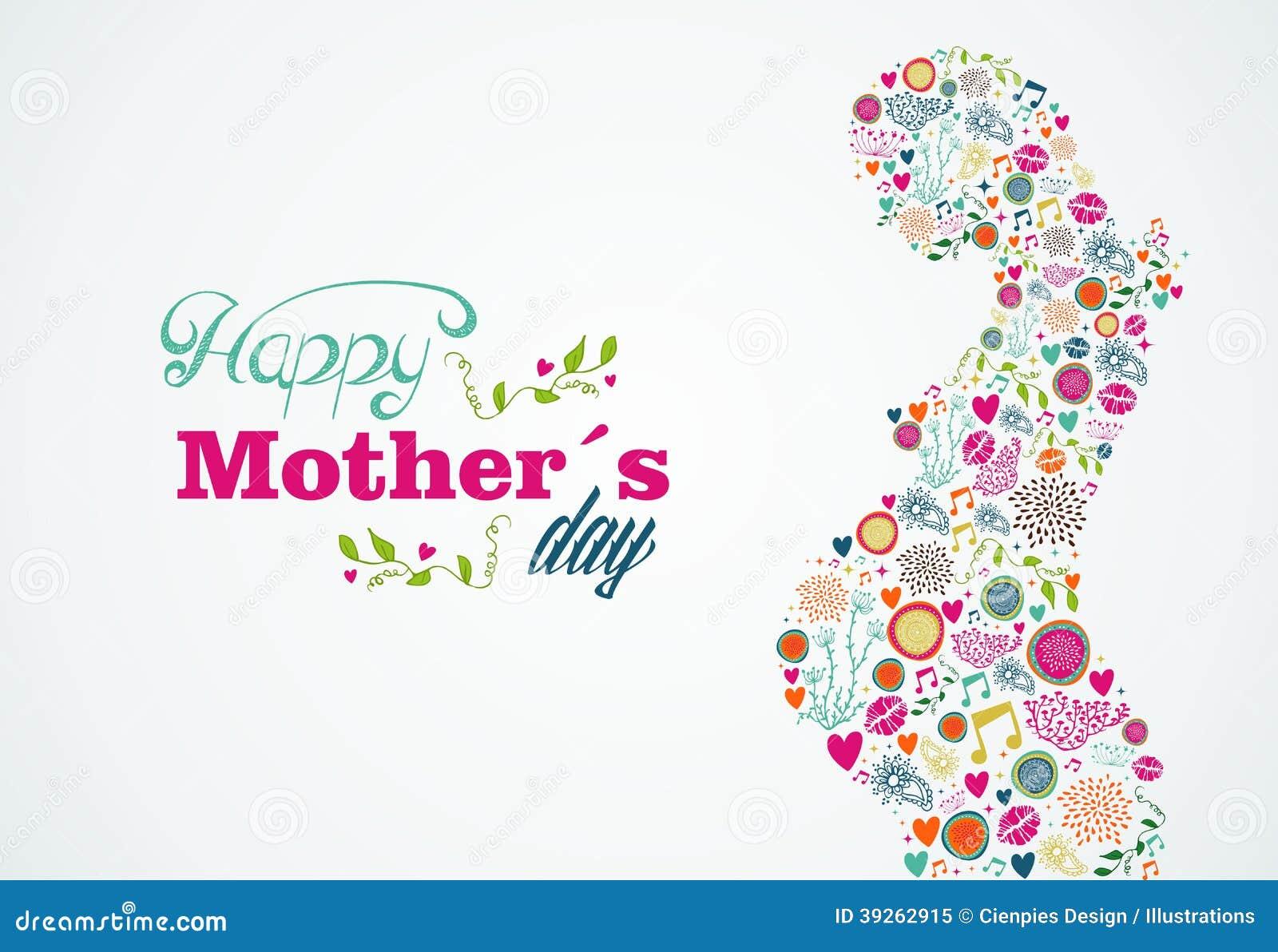 Happy mothers silhouette pregnant woman illustrati stock for Decoracion para pared dia de la madre