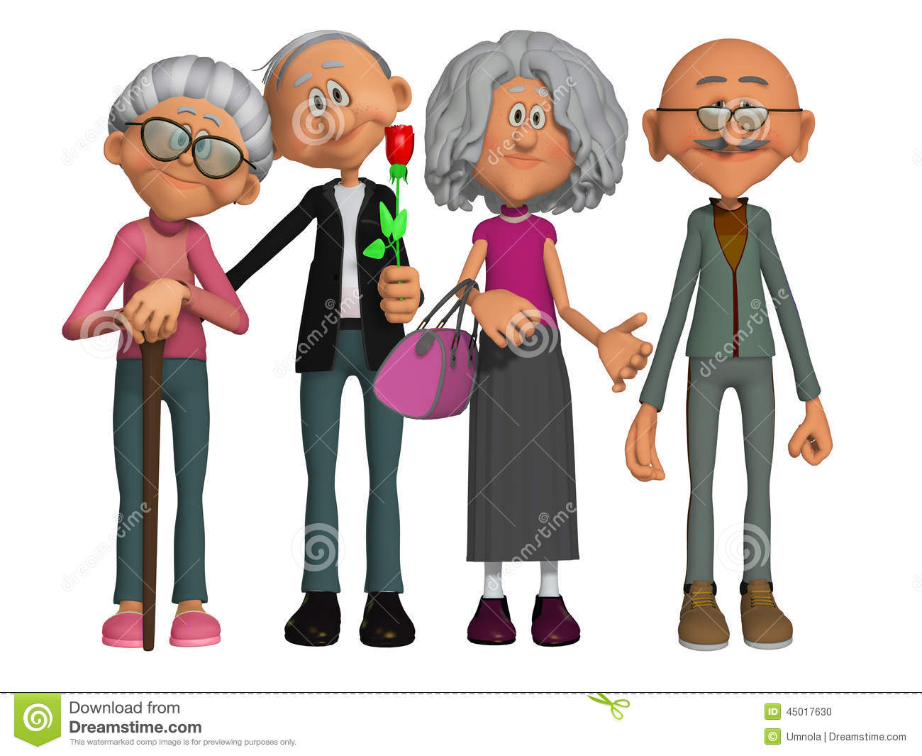 Happy And Motivated Old People 3d Stock Illustration - Image: 45017630