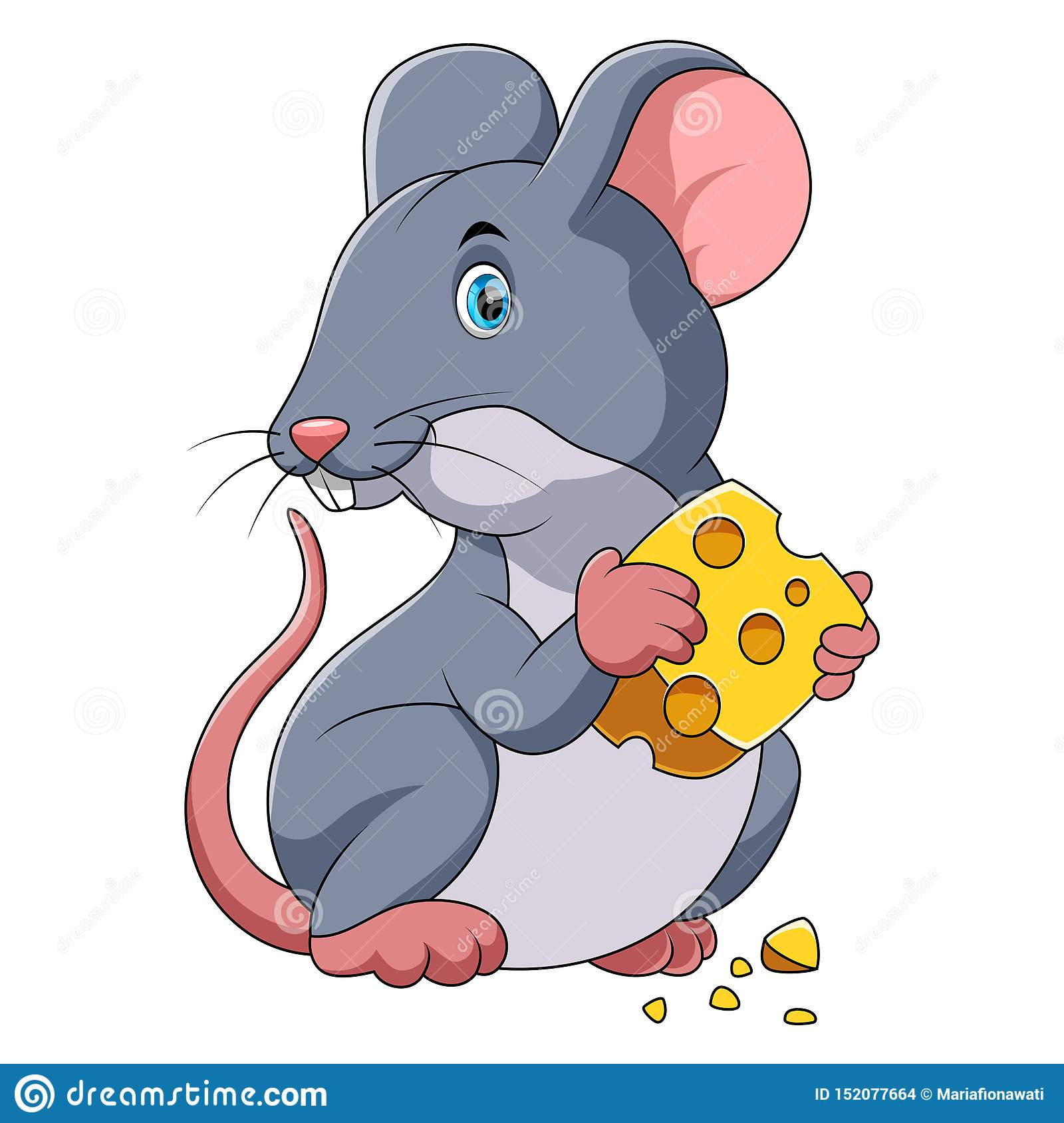 Happy mouse cartoon with cheese