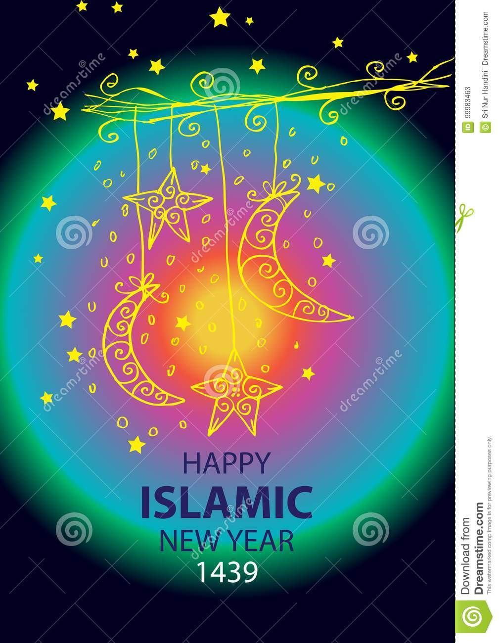 Happy Muharram1439 Hijri Islamic New Year Stock Illustration