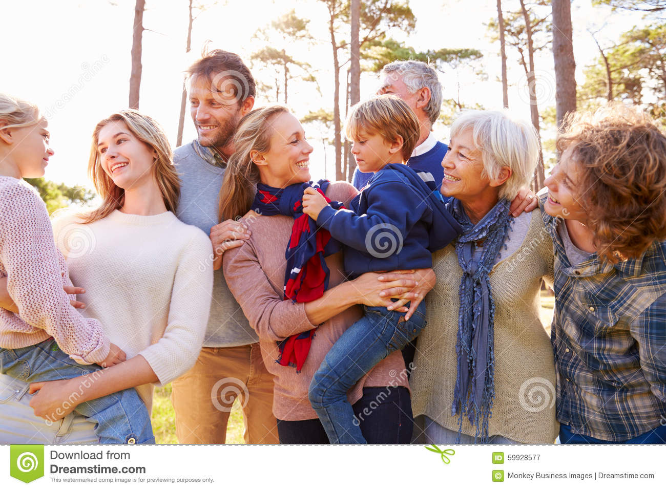 Happy multi-generation family in the countryside