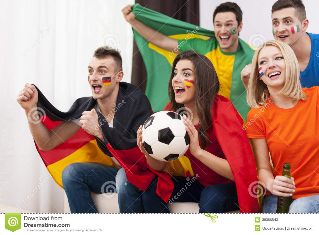 Happy Multinational Soccer Fans Stock Image - Image: 39366843