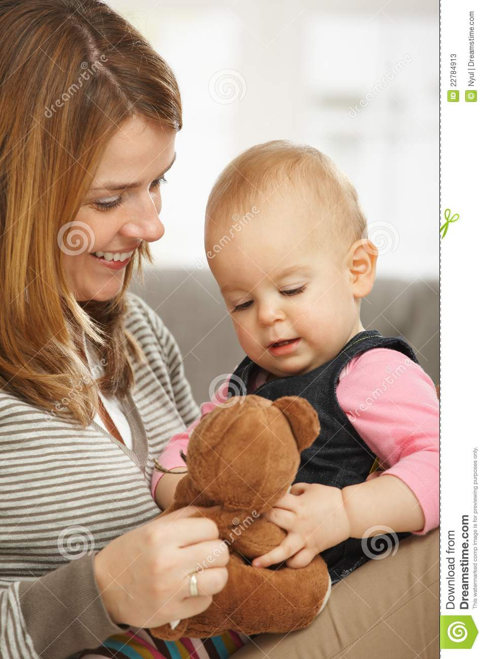 Happy Mum And Baby With Teddy Bear Stock Photos Image