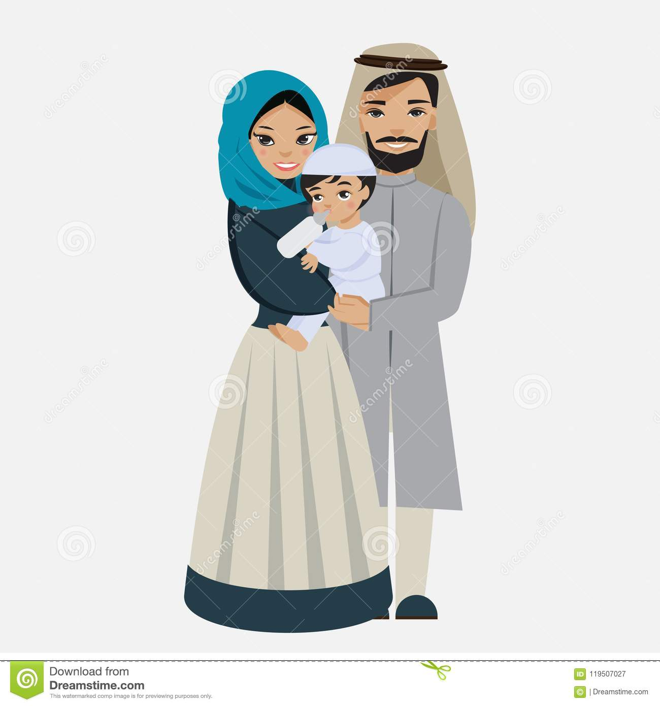 Happy muslim family with kid
