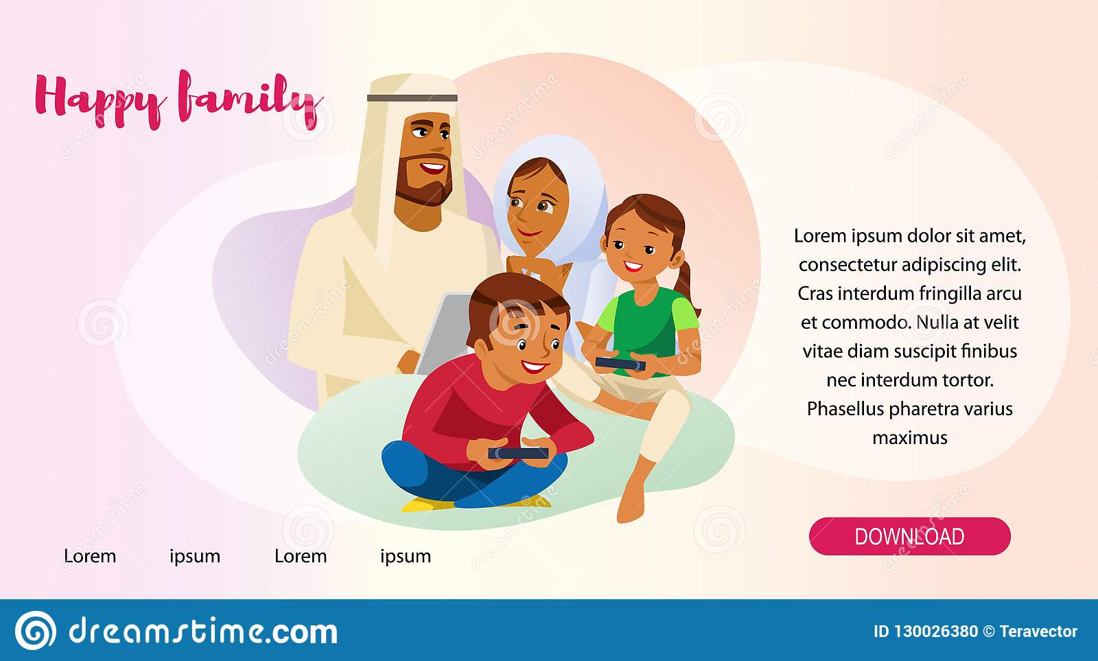Happy Muslim Family Web Page Vector Template