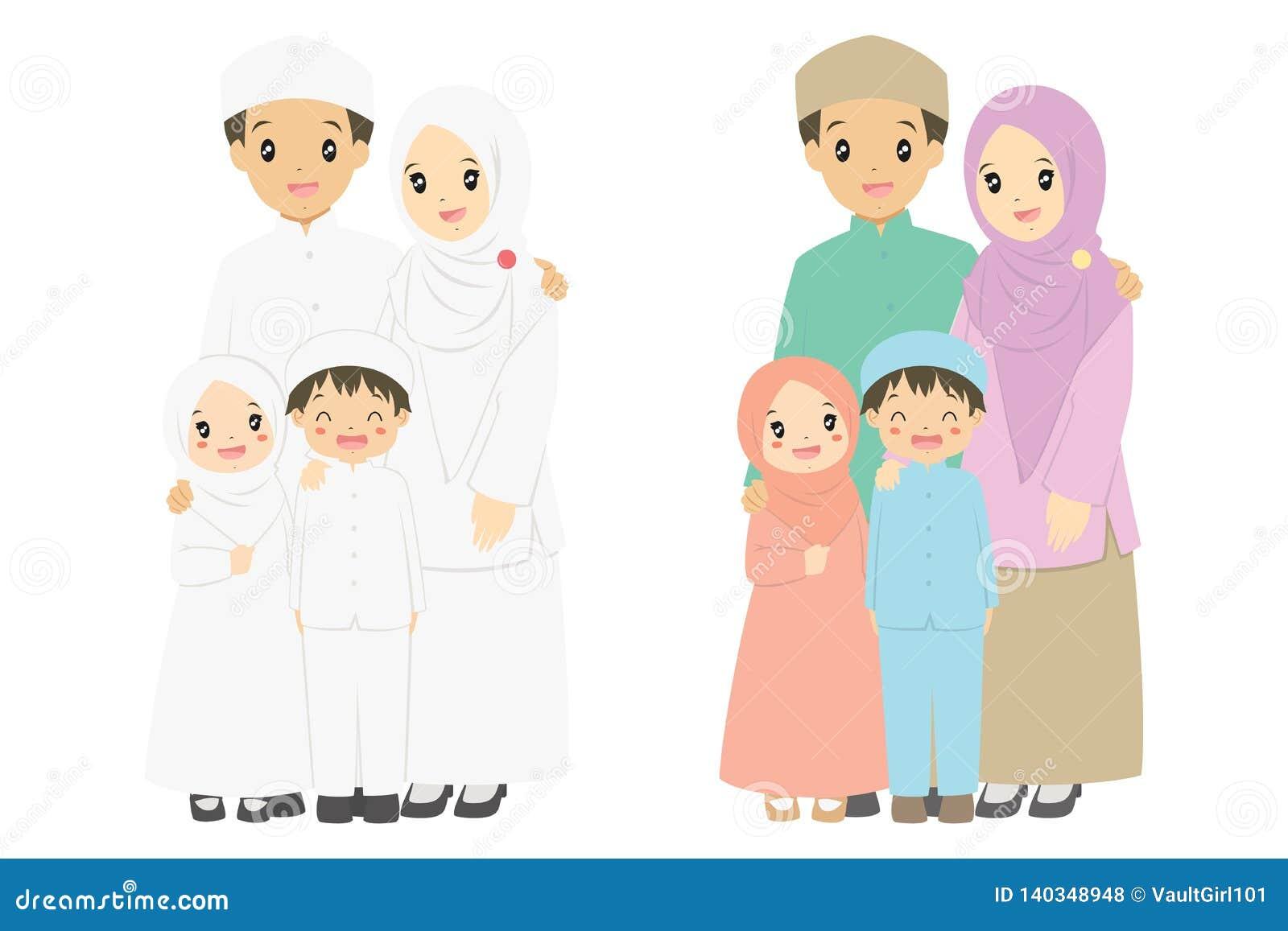Happy Muslim Family Portrait Vector Stock Vector Illustration Of Bond Children 140348948