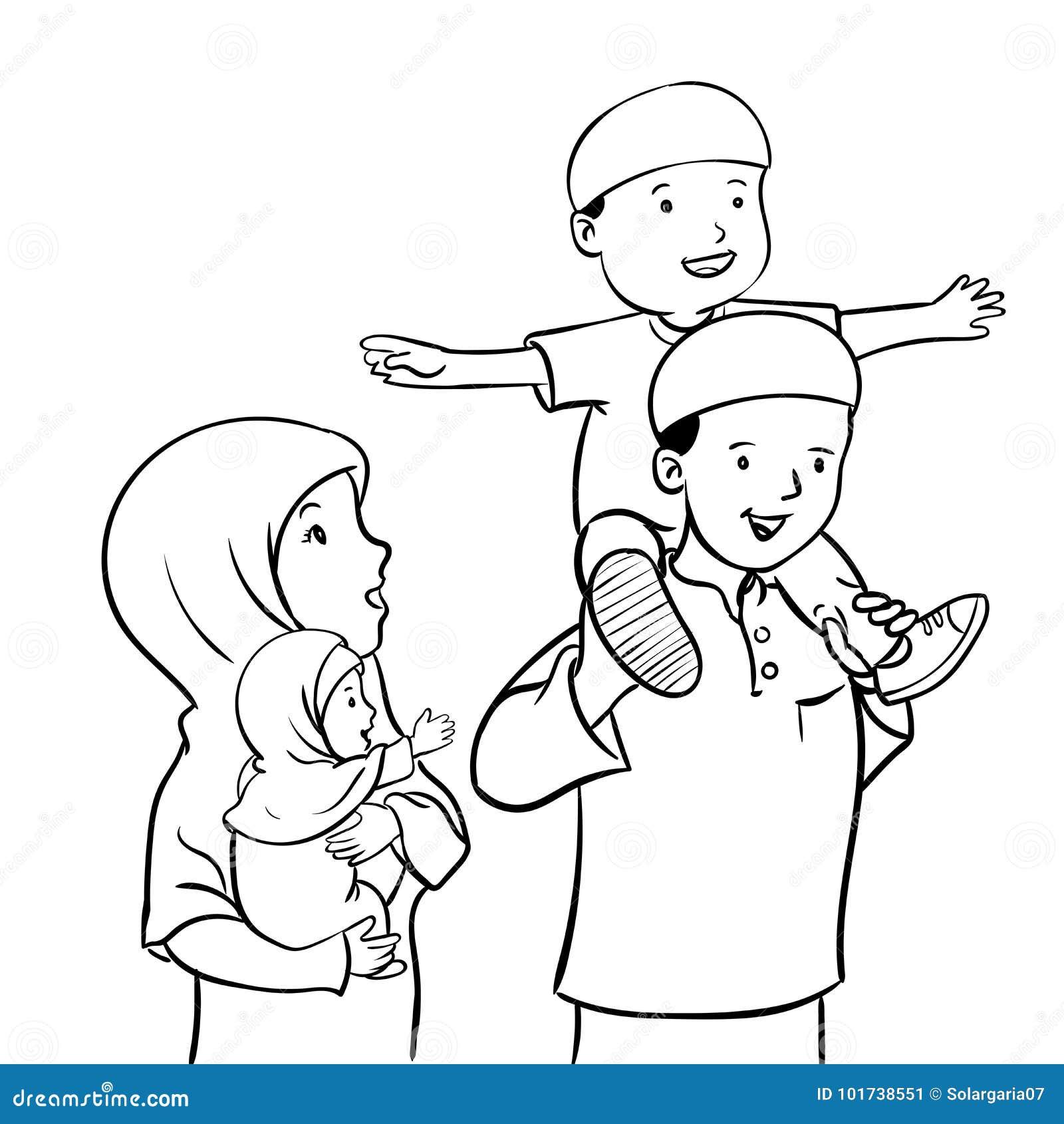 Happy Muslim family-Vector Illustration