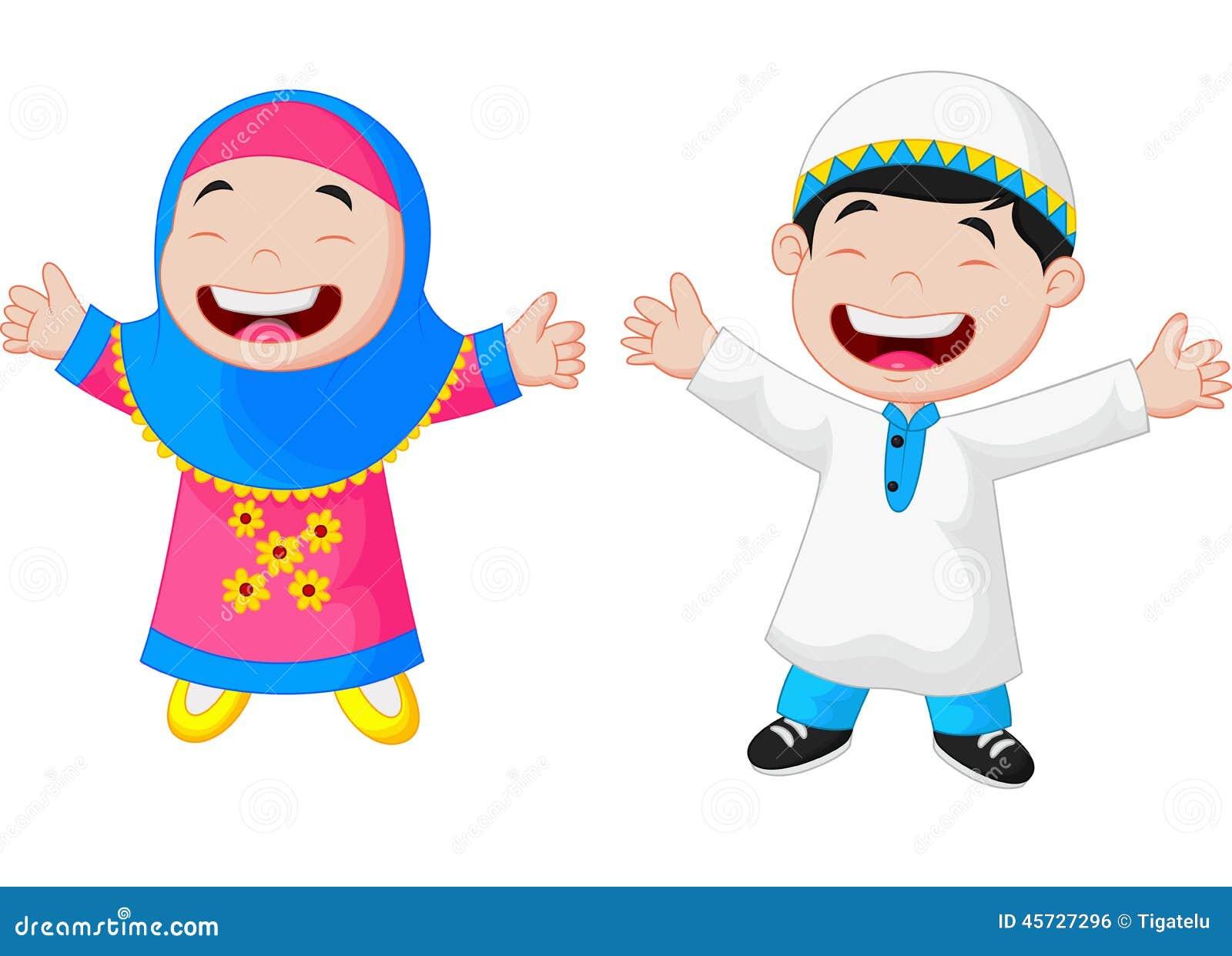 Happy Muslim Kid Cartoon Stock Vector - Image: 45727296