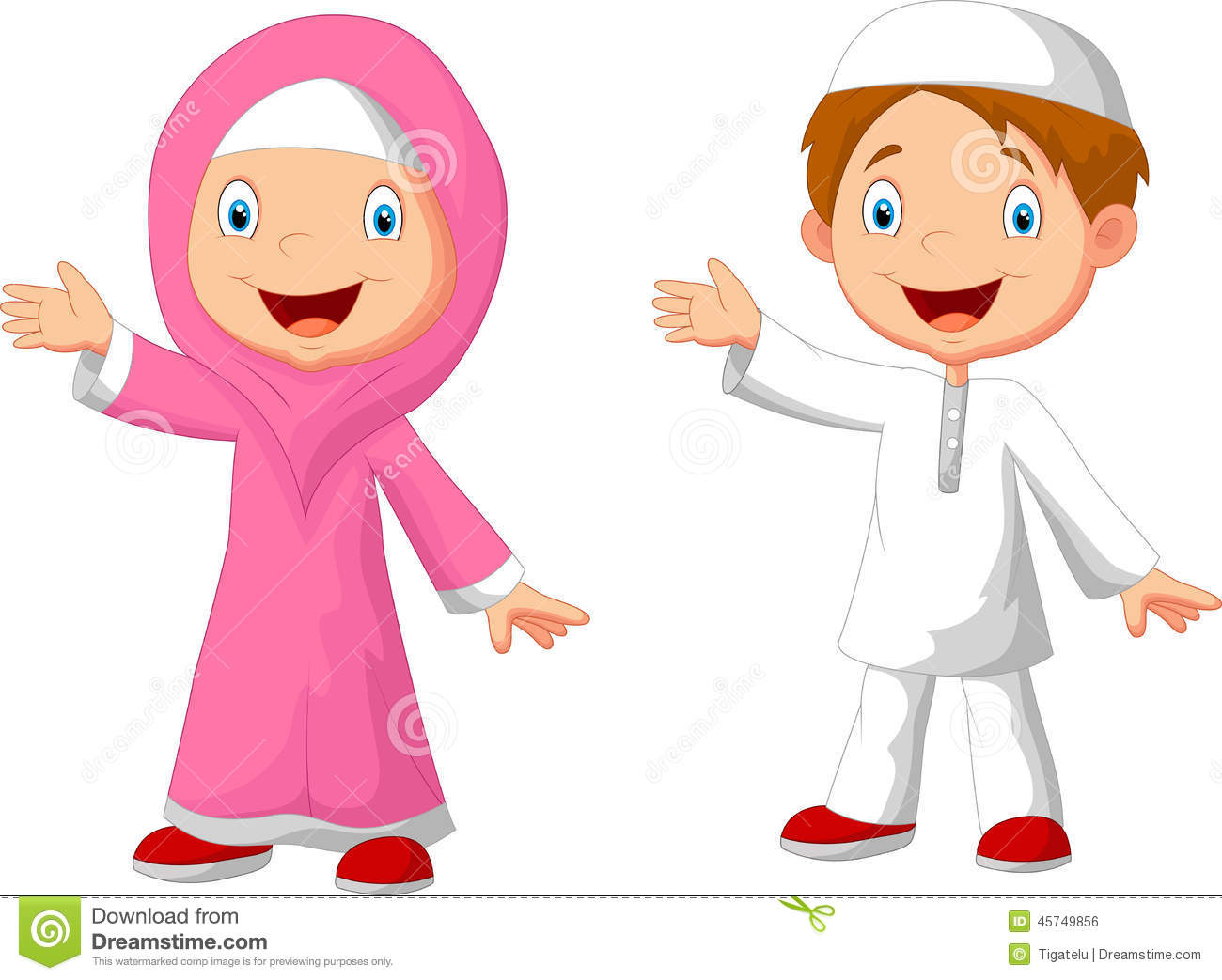 Happy Muslim Kid Cartoon Stock Vector - Image: 45749856