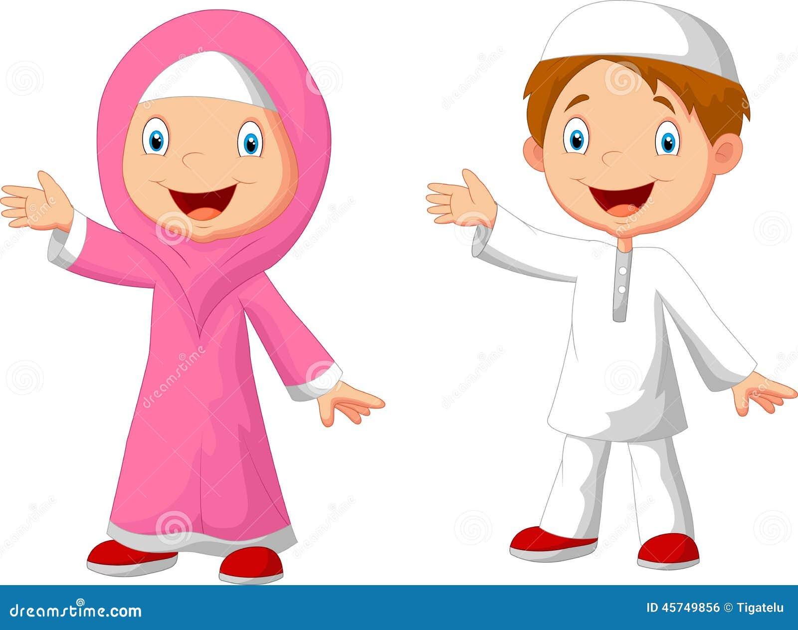 Happy Muslim Kid Cartoon Stock Vector - Image: 45749856