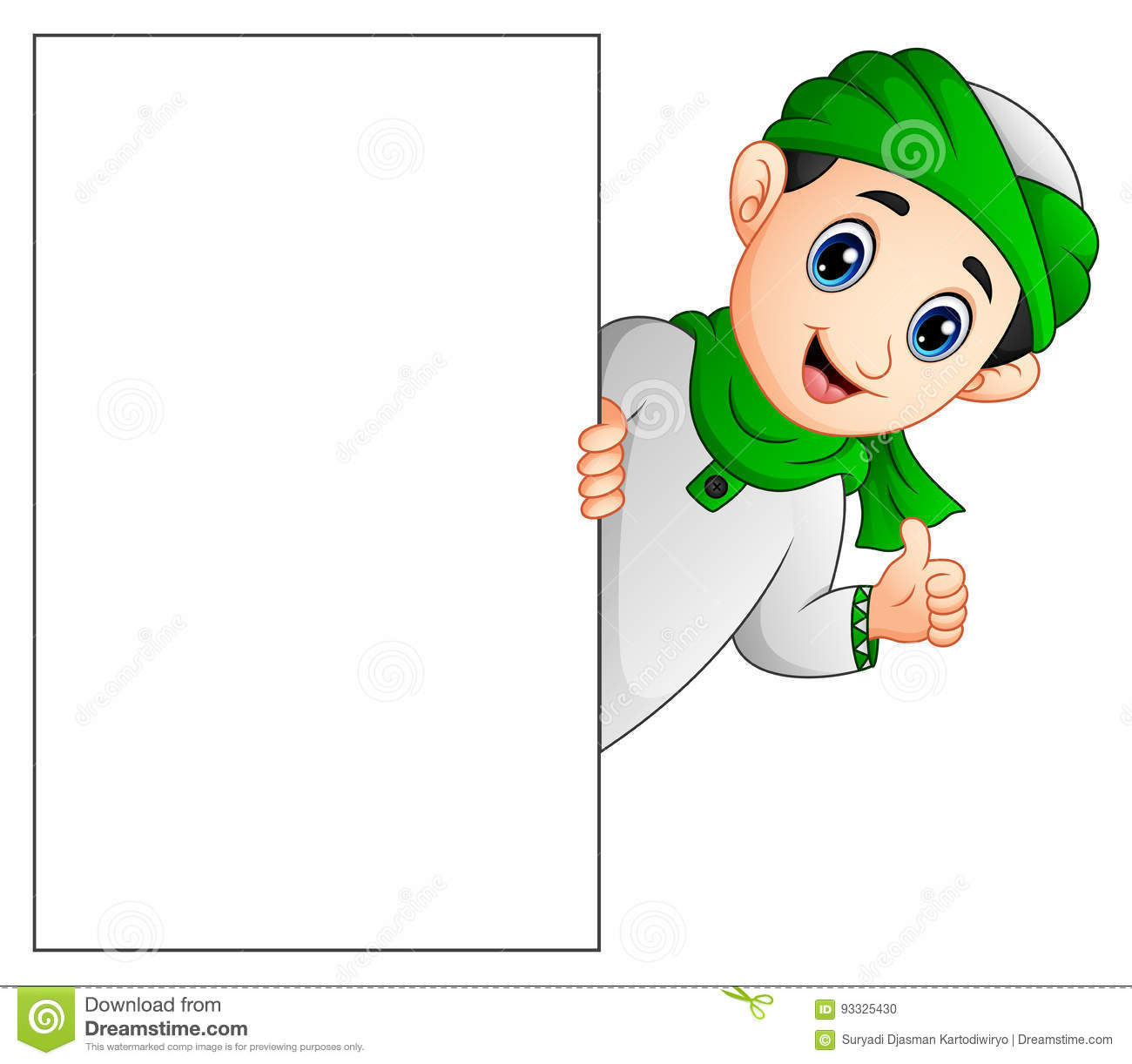 Happy muslim kid holding blank sign and giving thumb up