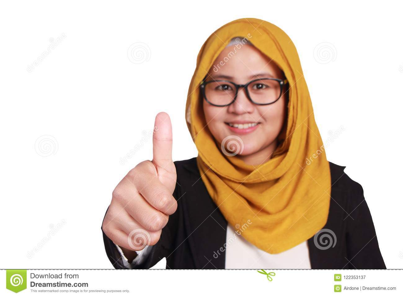 Happy Asian muslimah businesswoman wearing glasses and suit with thumbs up  gesture. Isolated on white. Close up head and shoulders