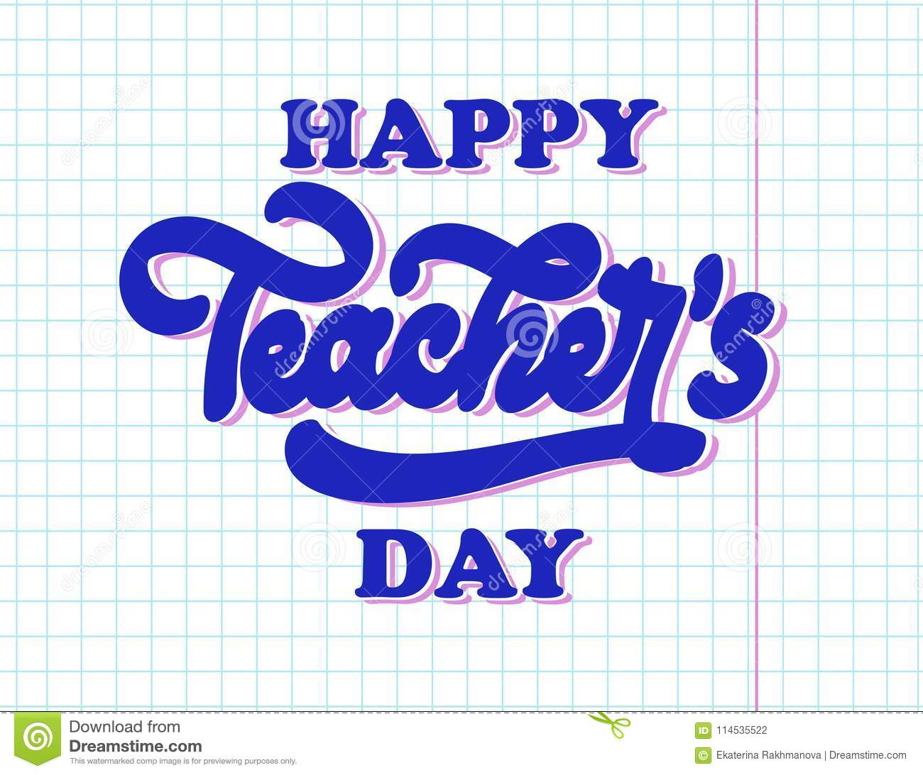 Happy national teachers day lettering. Creative abstract poster