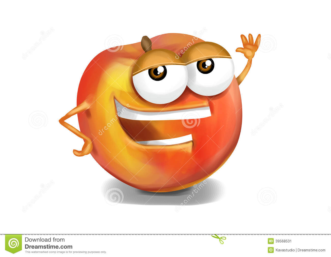 Happy Nectarine Cartoon Character Laughing Joyfully Stock
