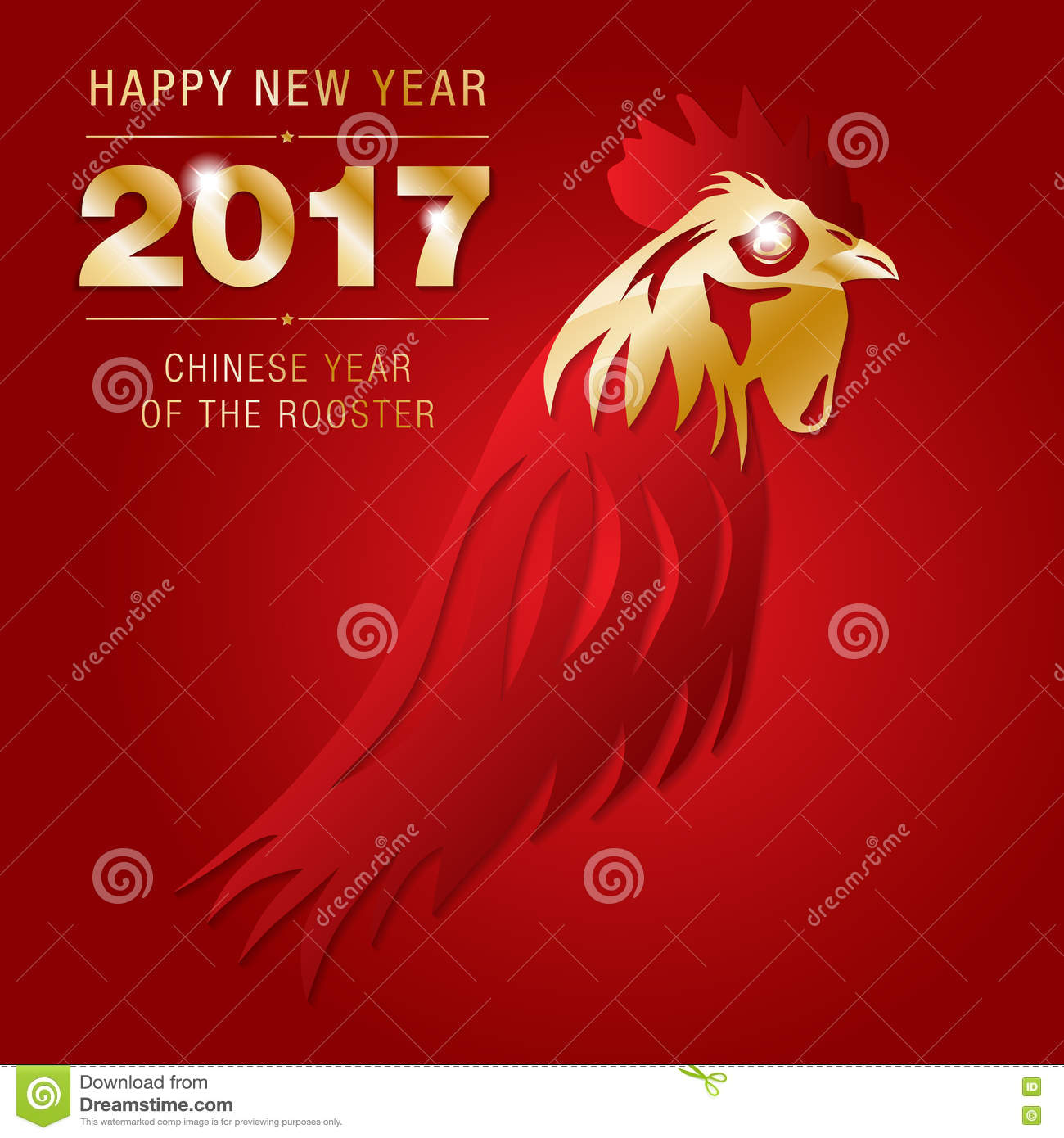 Happy New Chinese Year Of Rooster 2017 Card Stock Vector