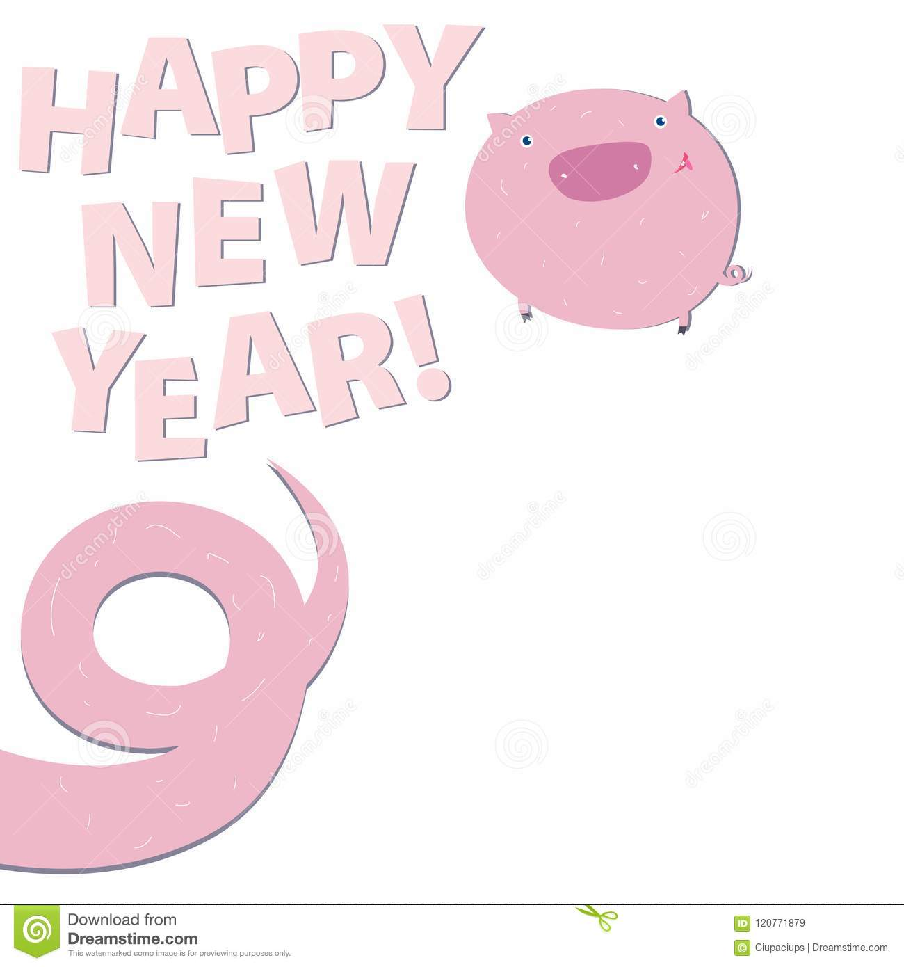 Happy New Pig Year Funny Greeting With Tail-nine Lettering Design ...
