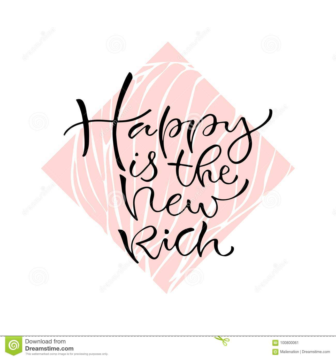 Happy Is The New Rich Handwritten Positive Quote To Printable Home
