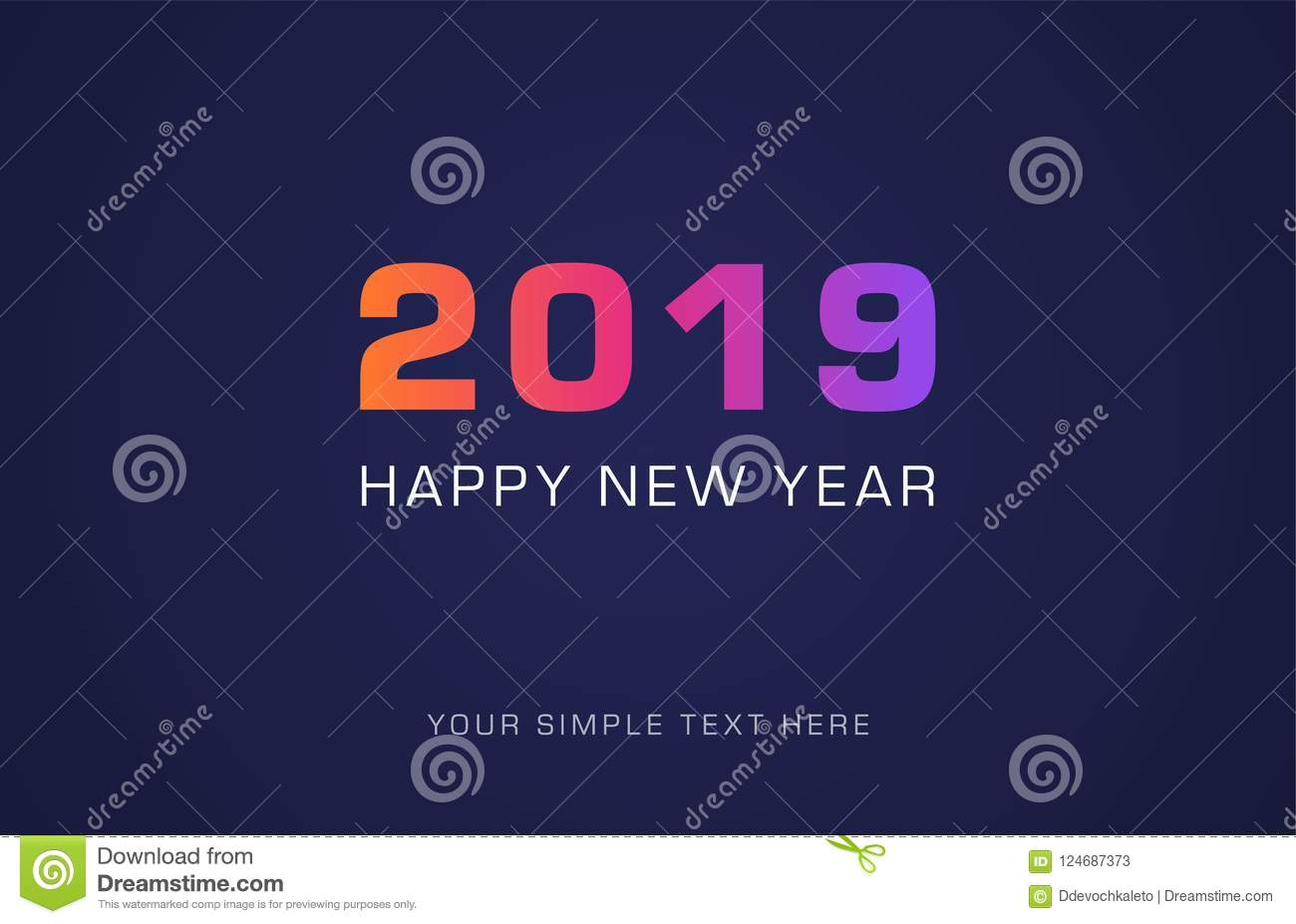 happy new year 2019 year greeting card in minimalist modern design design can be used for flyer banner or presentation vector format
