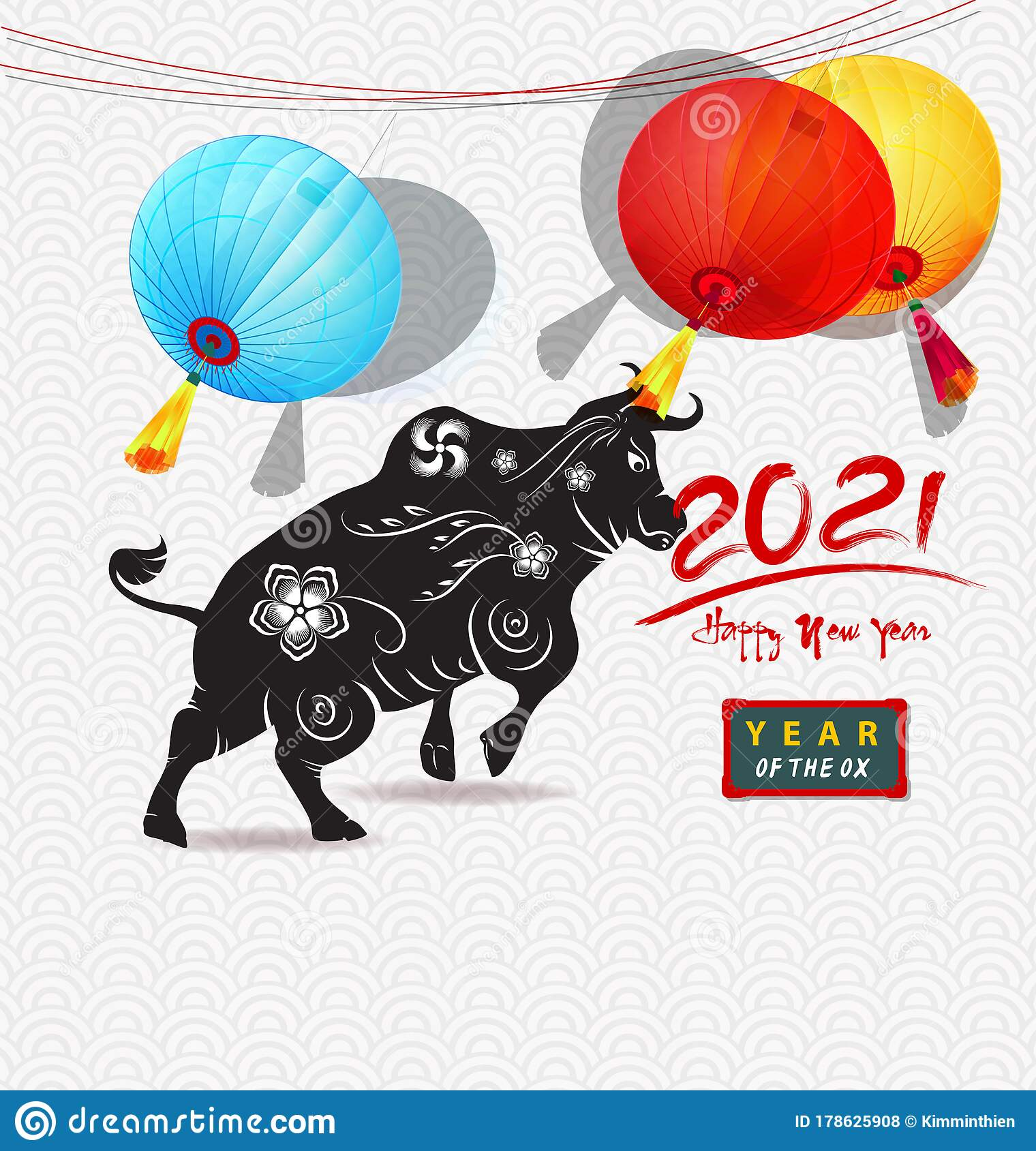 Happy new year 2021 stock vector. Illustration of bull ...