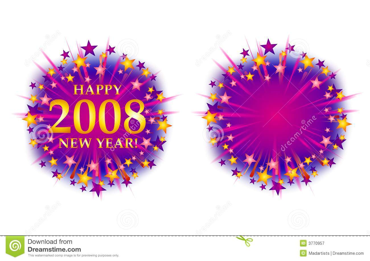 happy new year 2008 fireworks logo 2