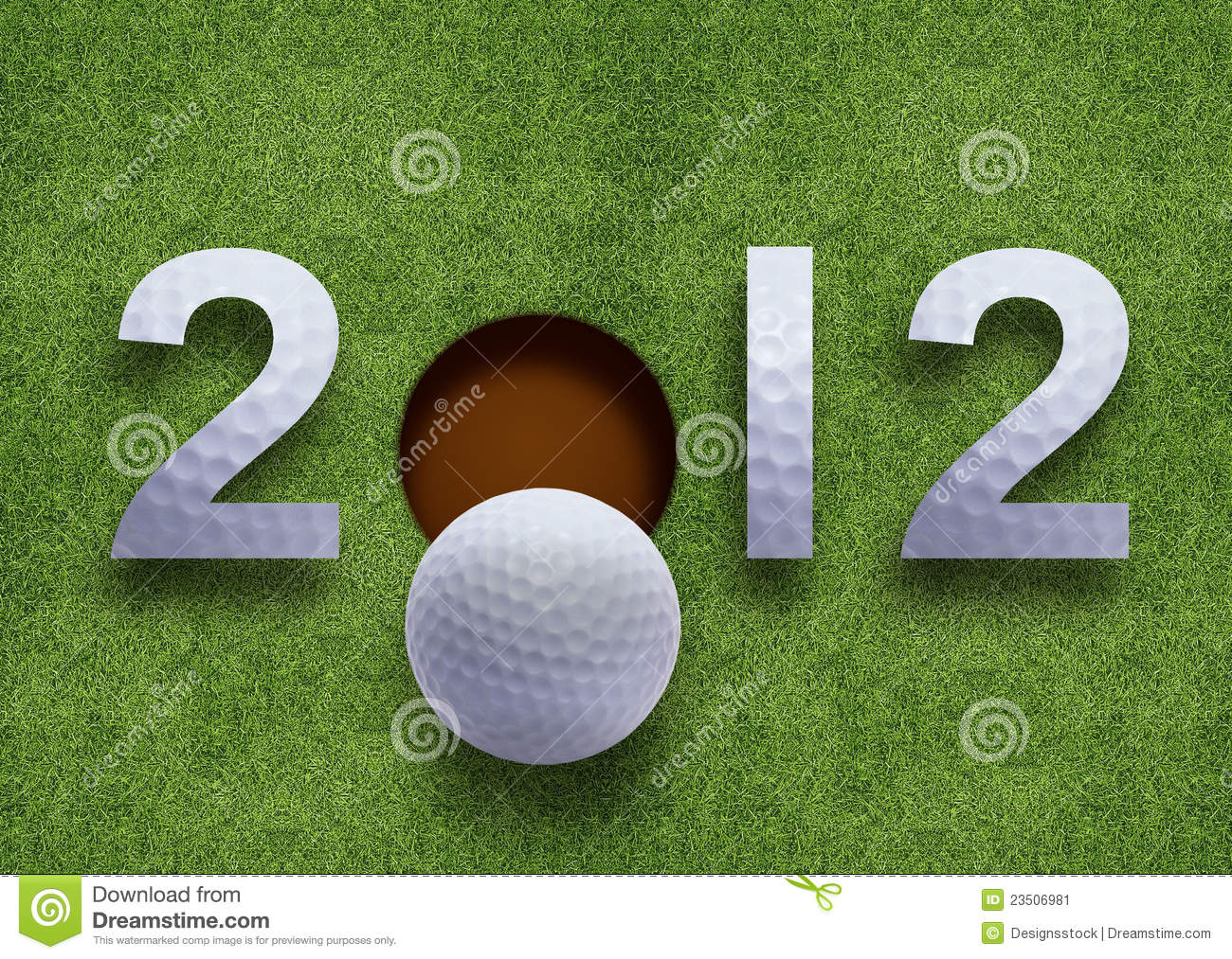 Happy new year 2012 golf sport conceptual image