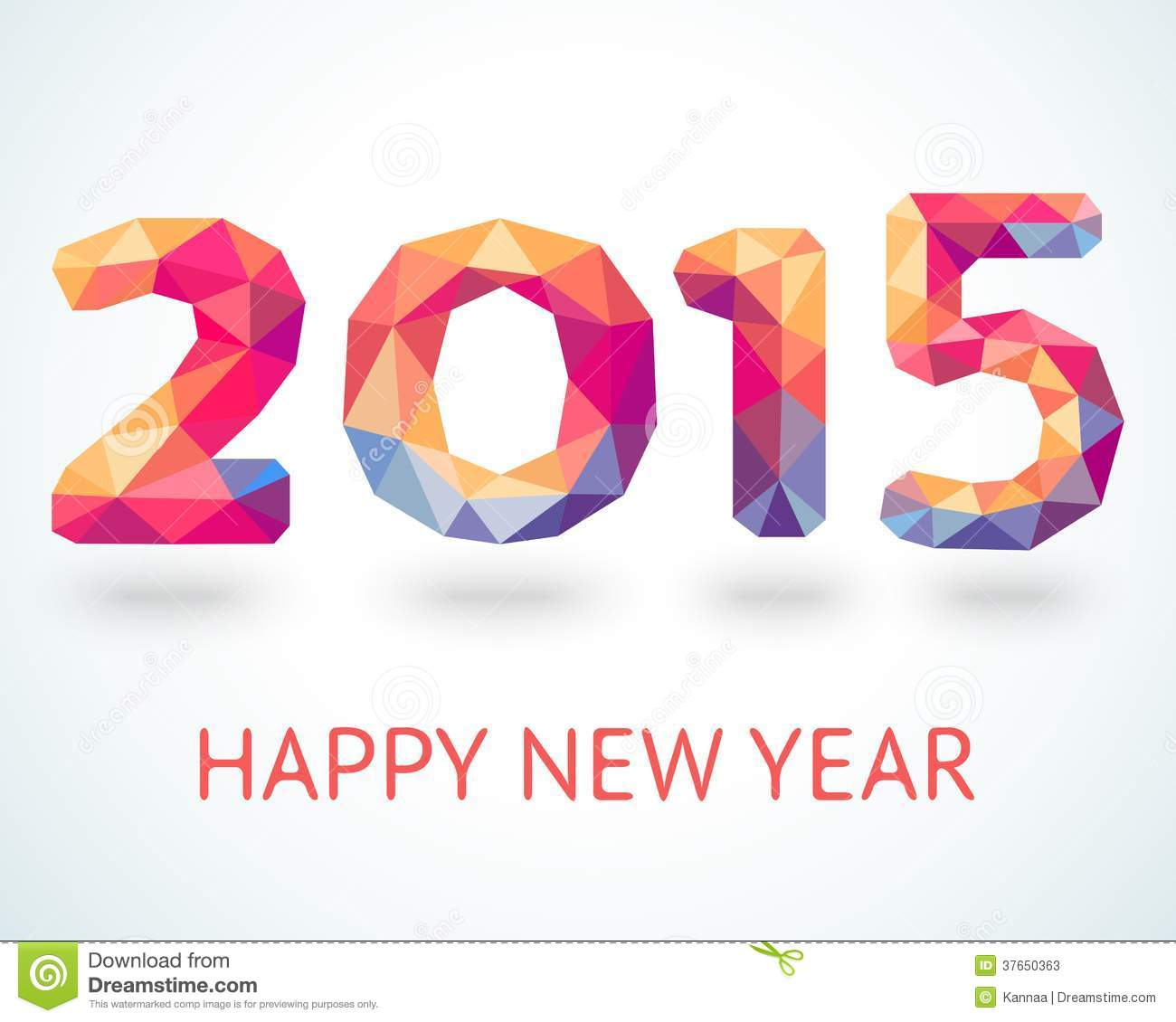 Happy New Year 2015 colorful greeting card made in polygonal origami ...