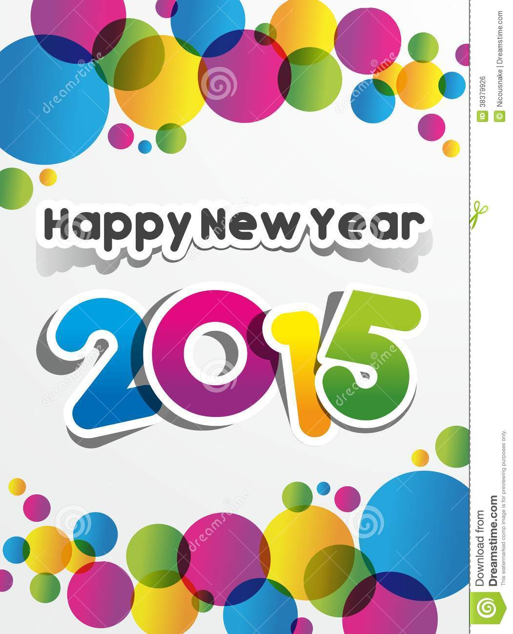 Happy New Year 2015 Greeting Card Stock Vector - Illustration of ...