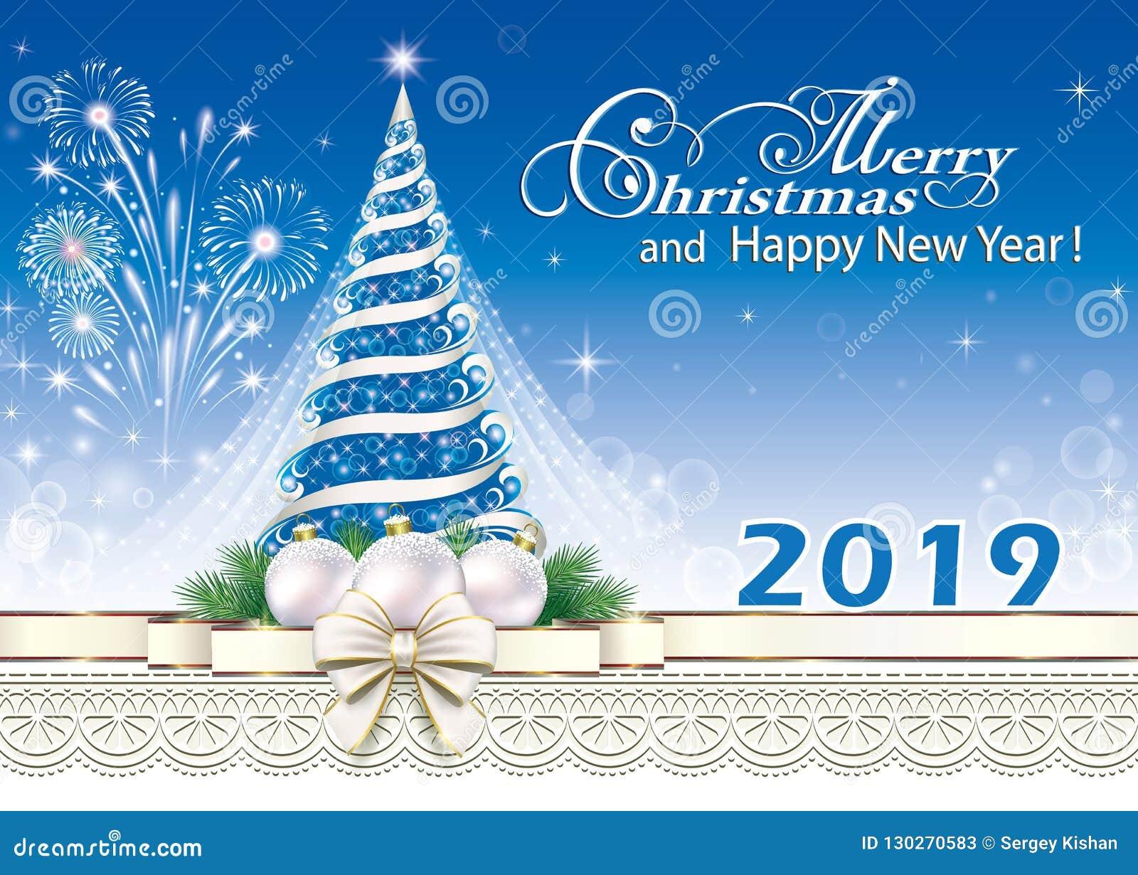 2019 Christmas.Happy New Year 2019 Christmas Tree Stock Vector