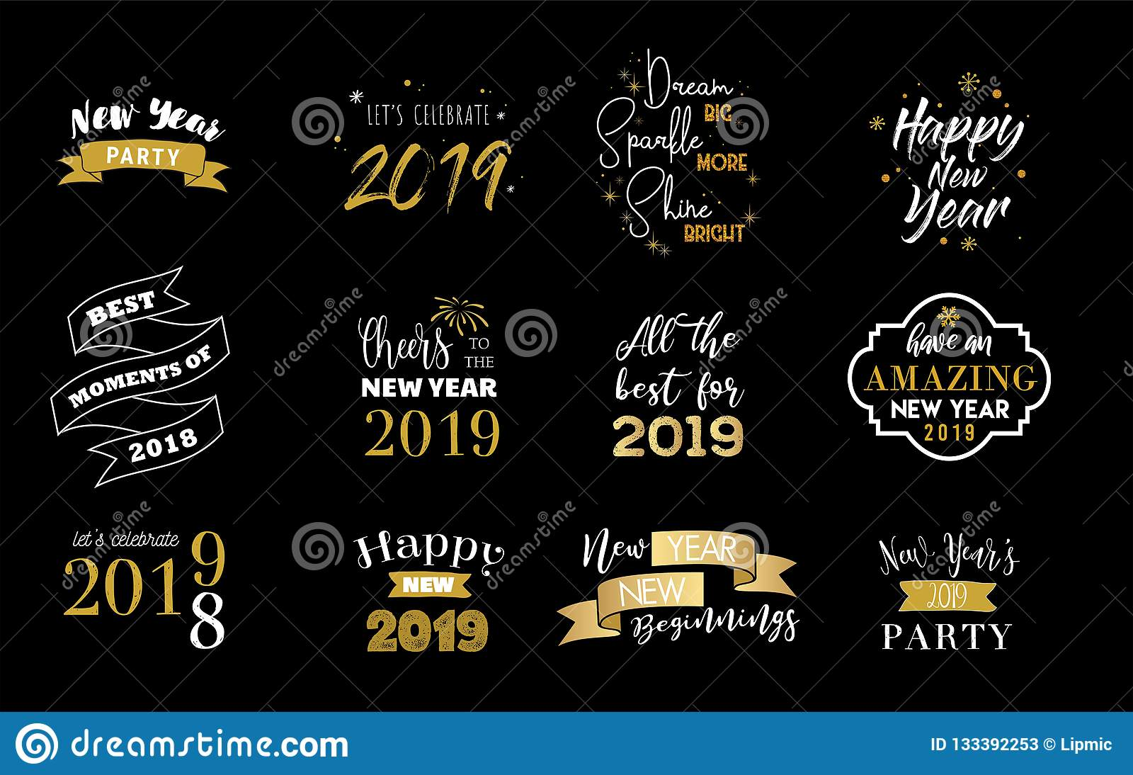 happy new year 2019 typographic emblems set vector logo text design black white and gold usable for banners greeting cards gifts etc vector