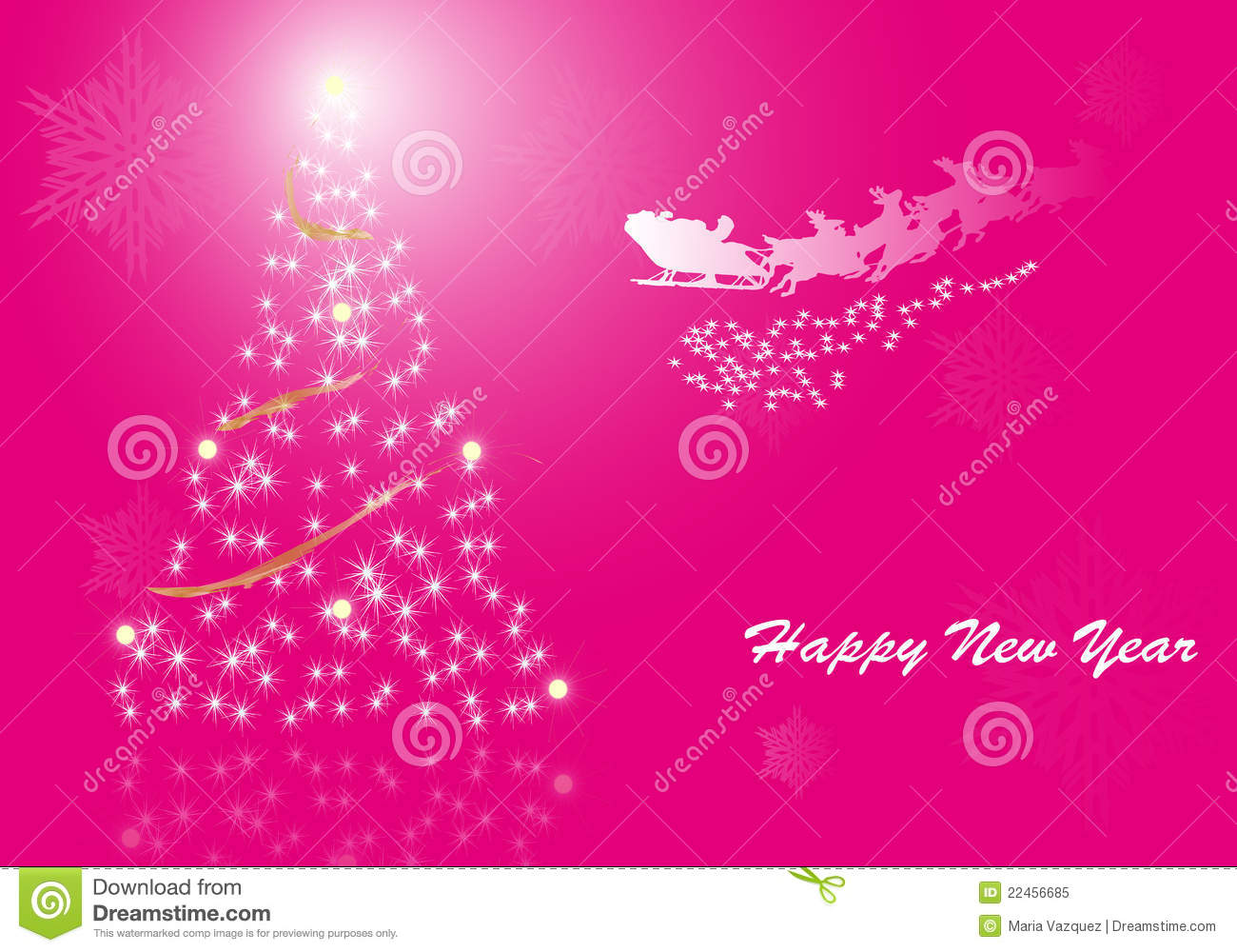 fund in pink with decorative tree happy new year