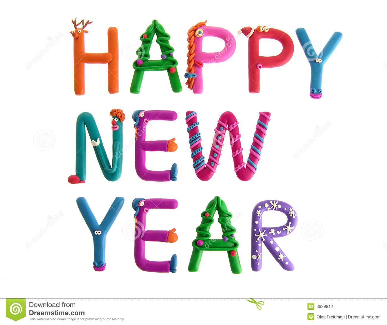 Happy New Year stock photo. Image of blue, letter, nose   3639812