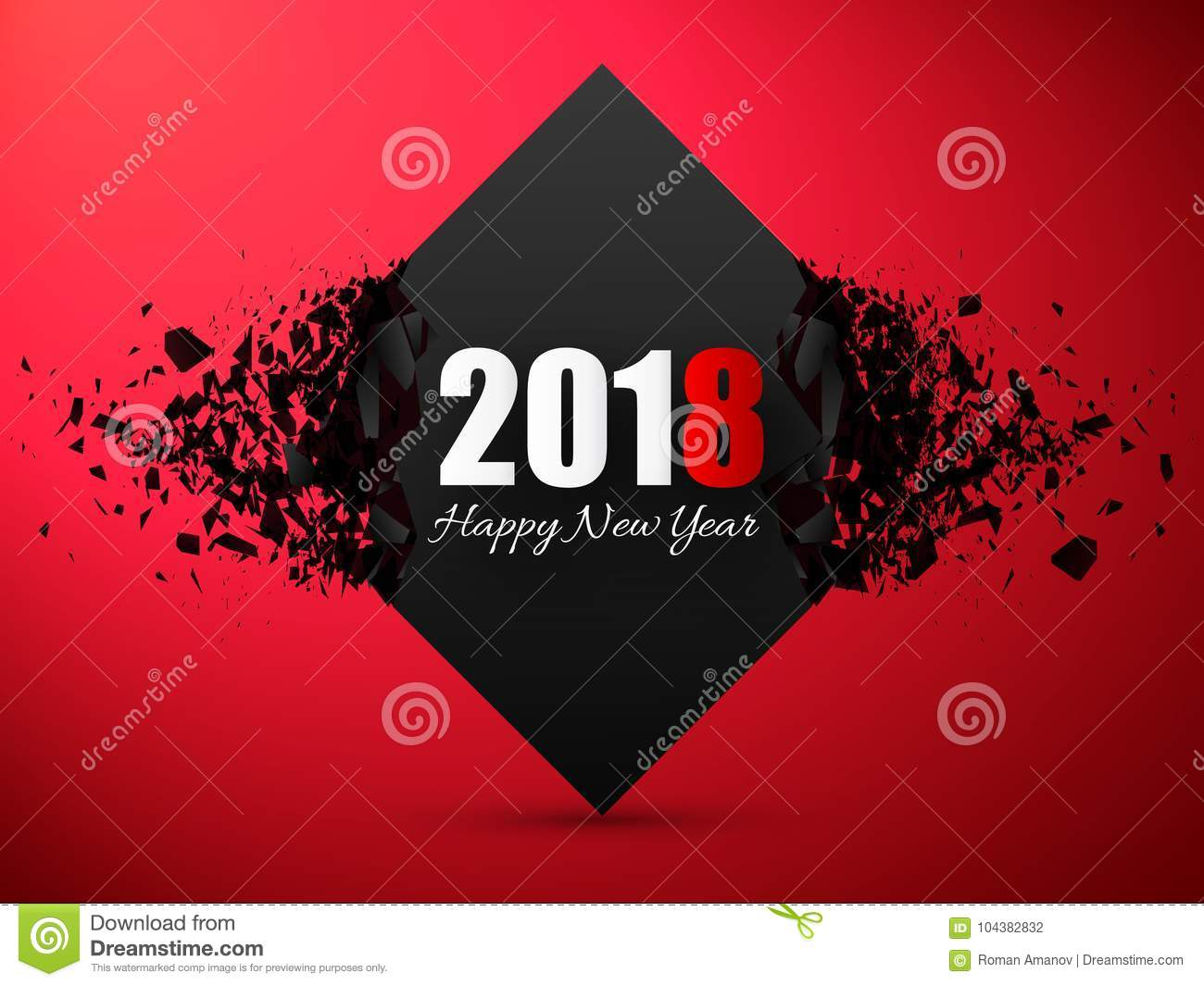 download happy new year 2018 abstract background banner with explosion effect stock vector