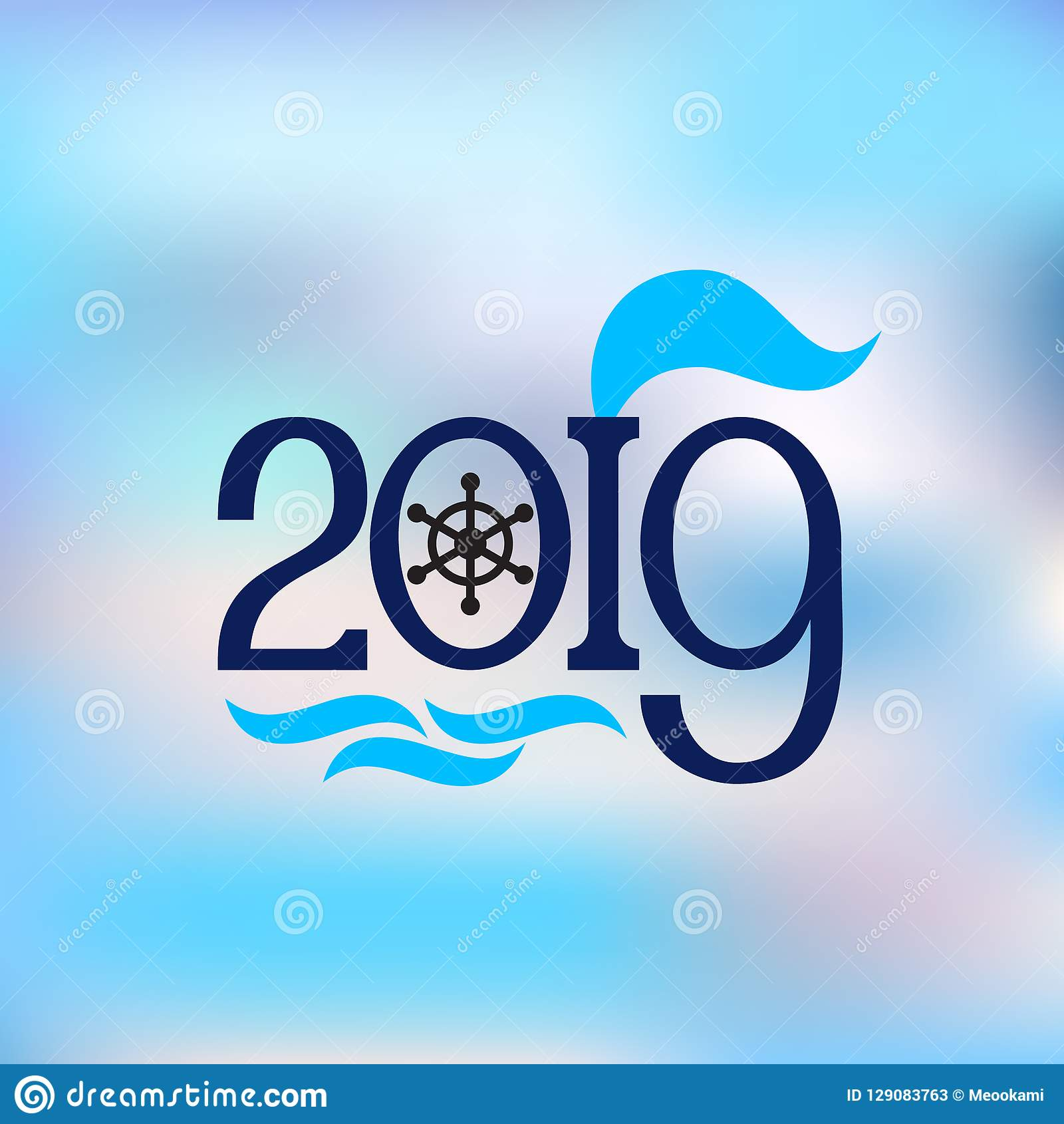 happy new year 2019 abstract banner nautical style