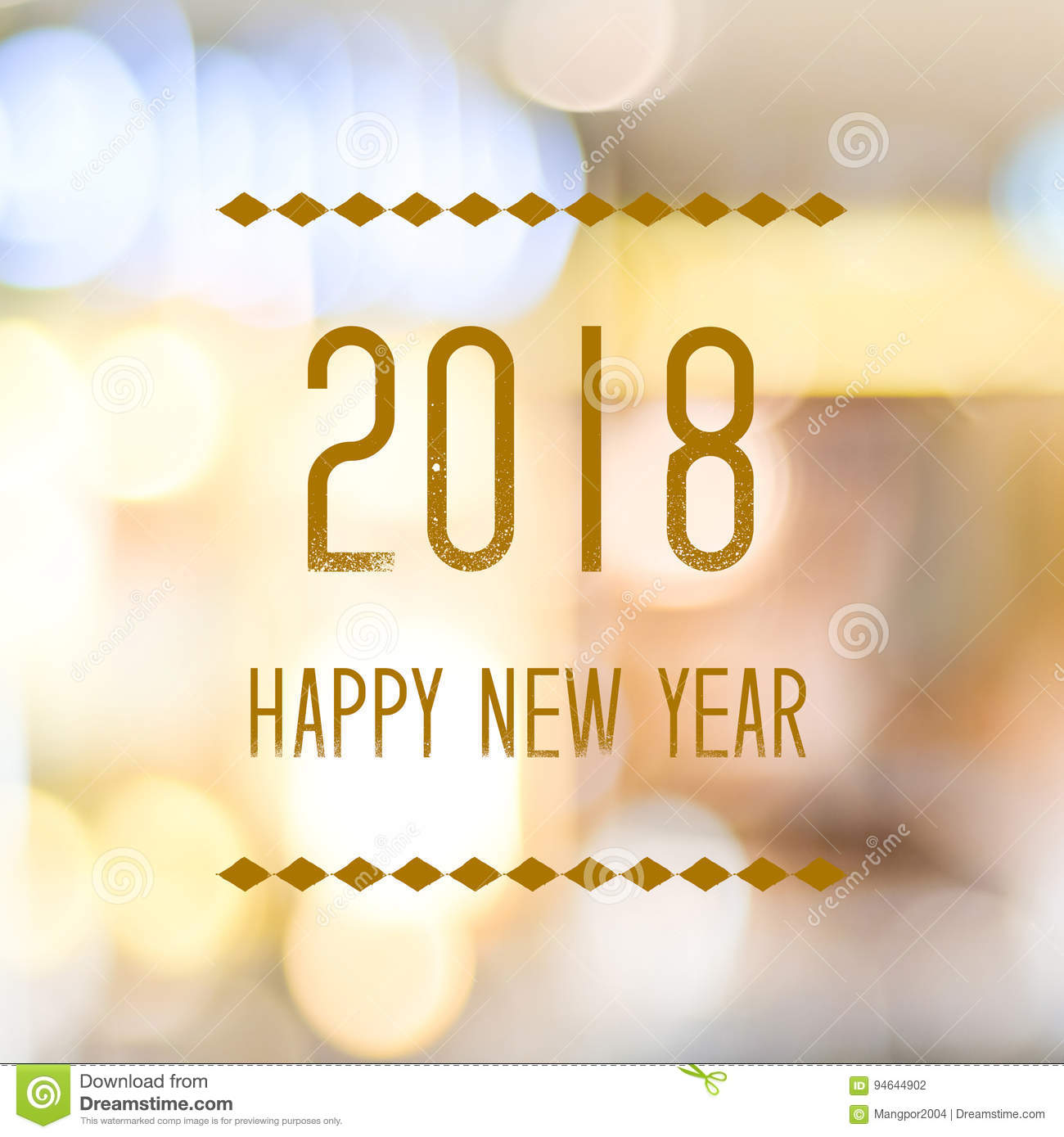happy new year 2018 on abstract blur festive bokeh background b